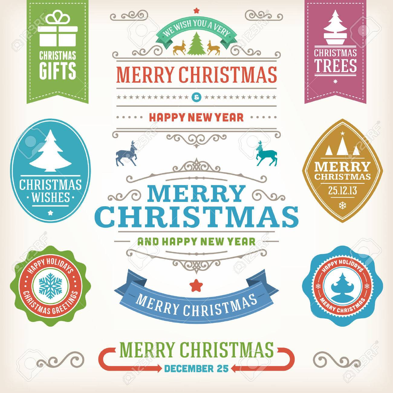 Christmas decoration vector design elements collection  Typographic elements, vintage labels, frames, ribbons, set  Flourishes calligraphic Stock Vector - 23213895