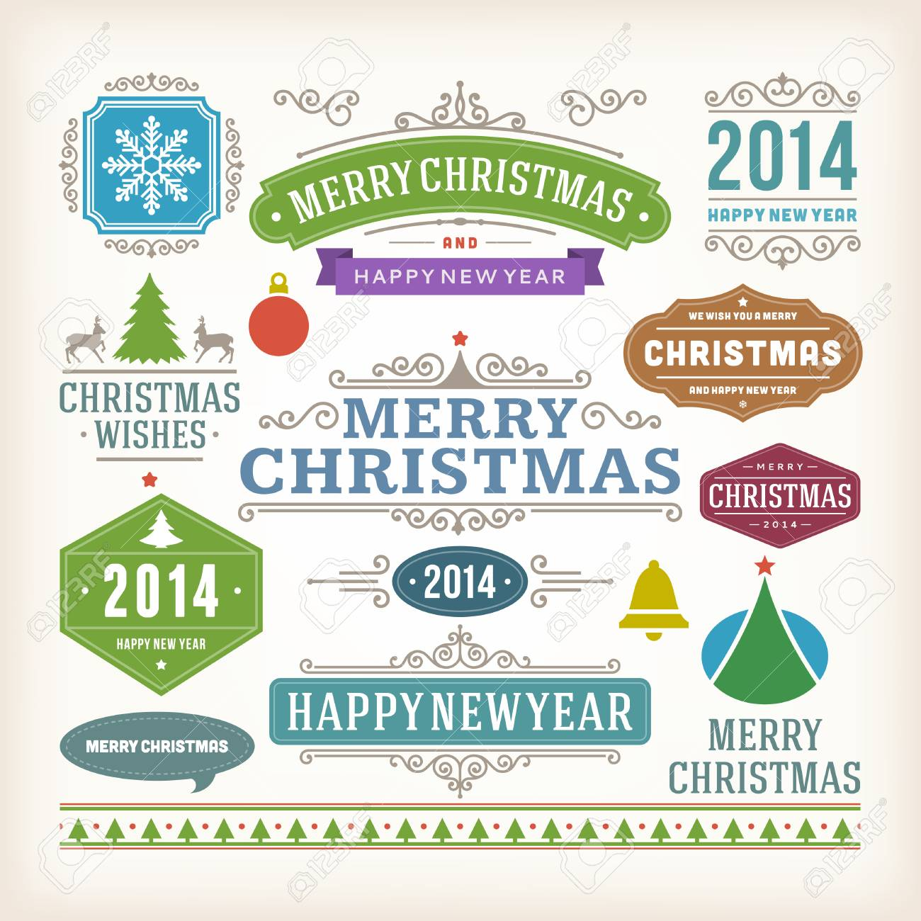Christmas Decoration Vector Design Elements Collection Typographic ...