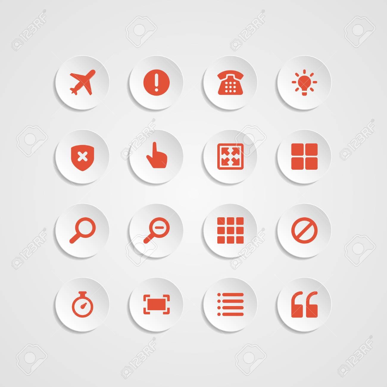 Web site vector icons set bend paper effect  Vector design elements for design Stock Vector - 25438179