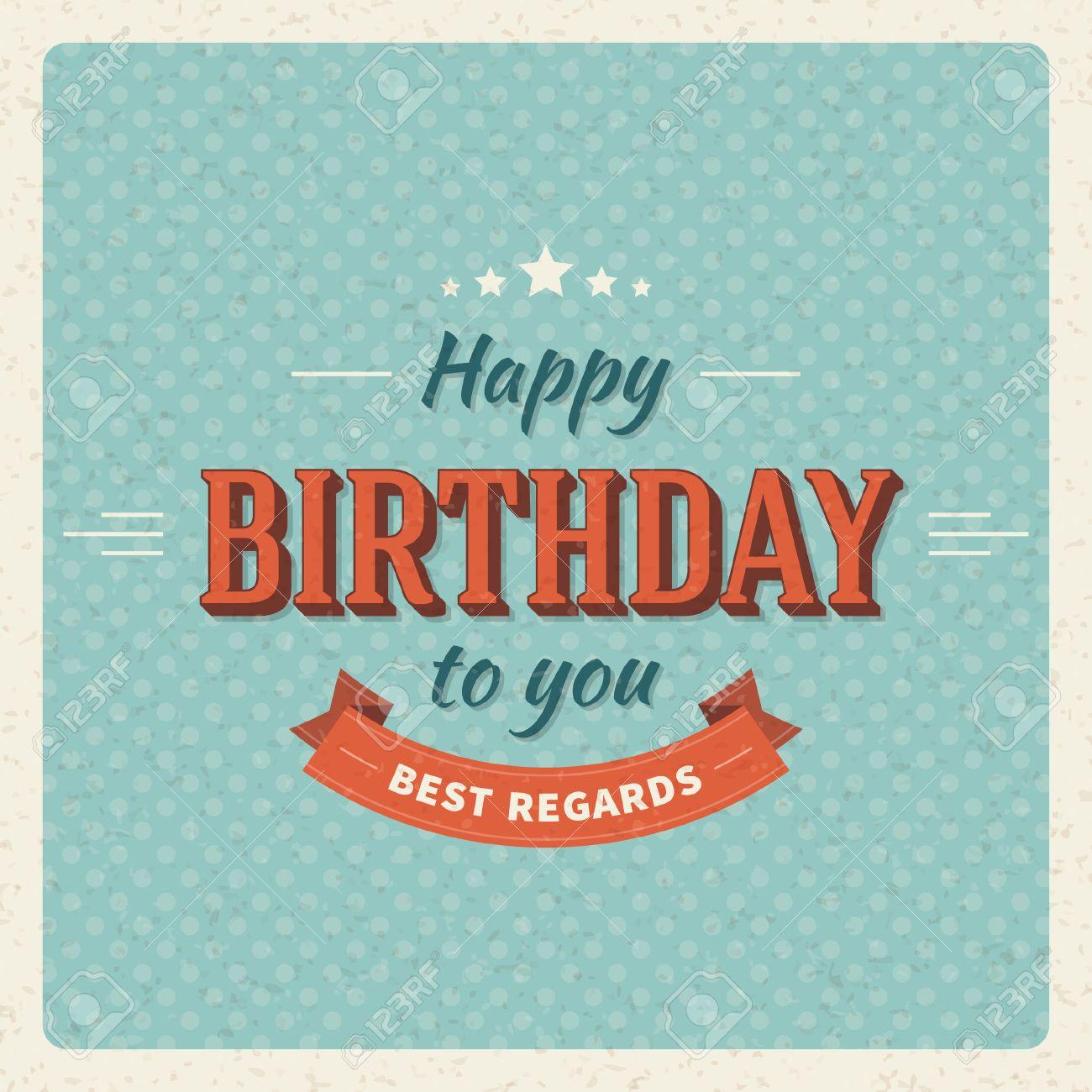 vintage happy birthday vector card background retro happy birthday, Birthday card