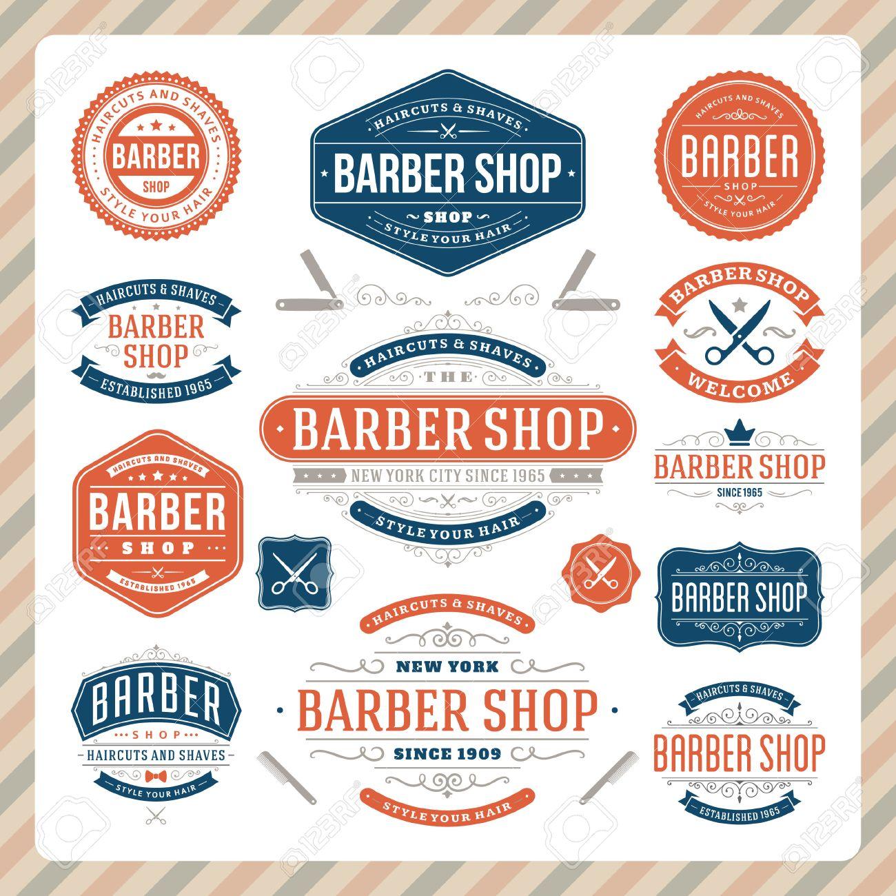 Antique barber shop signs - Barber Shop Sign Barber Shop Vintage Retro Flourish And Calligraphic Typographic Design Elements Illustration