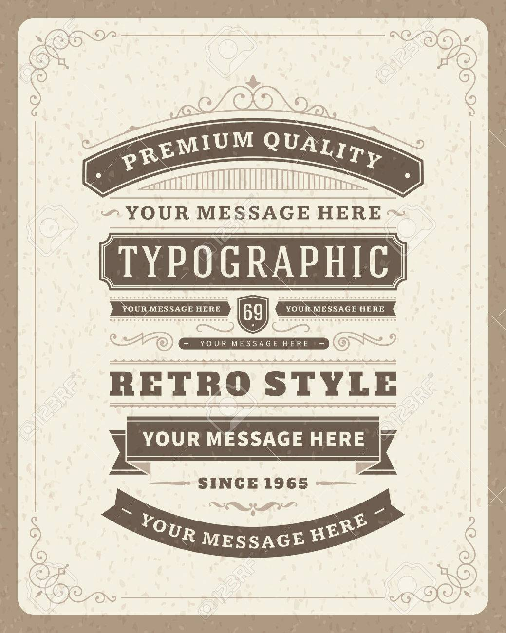 Retro typographic design elements  Template for design invitations, posters and other design Stock Vector - 26273433