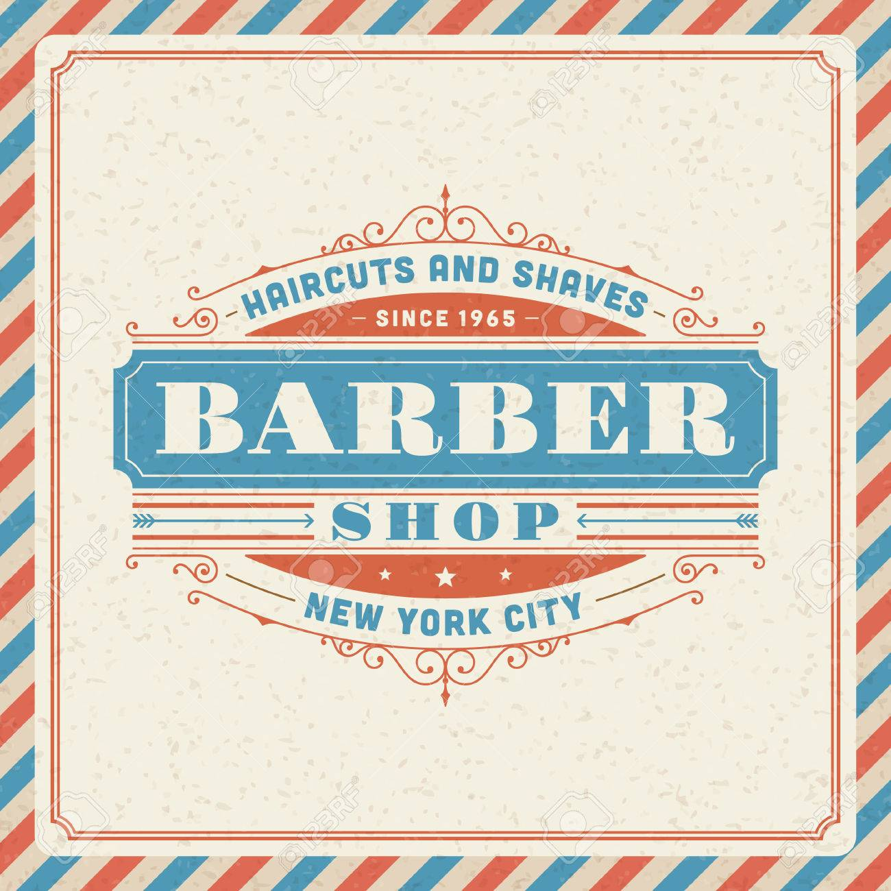 Barber Shop Vintage Retro Typography Template Royalty Free ...