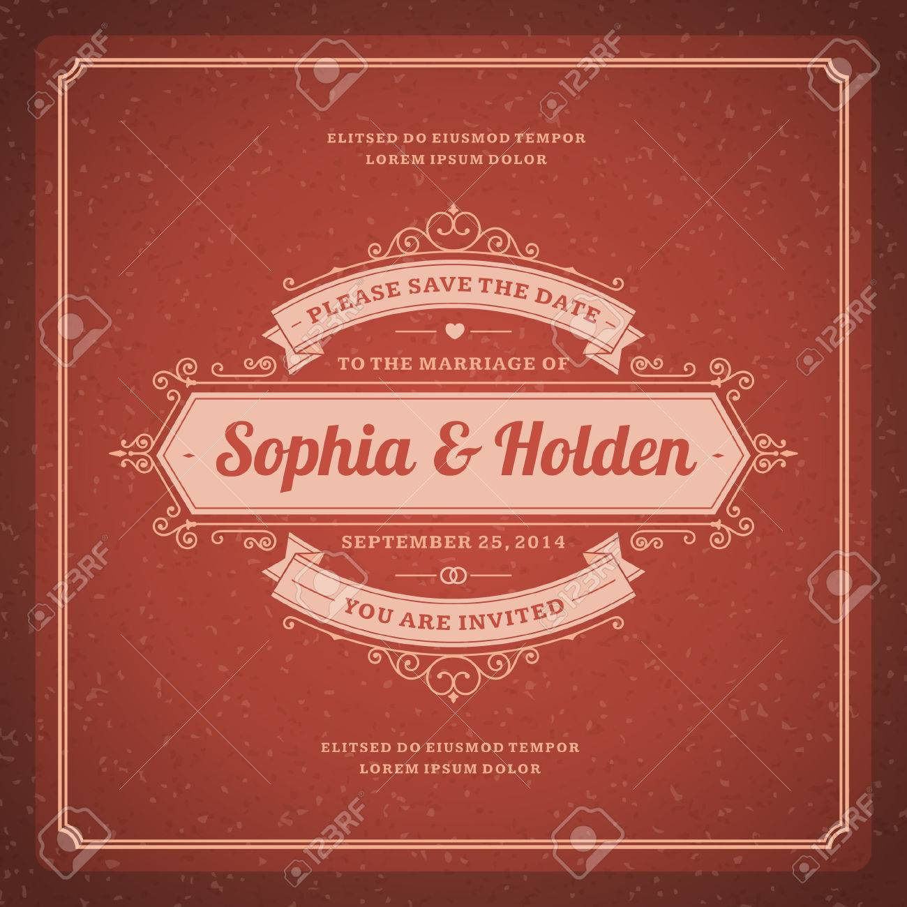 Wedding Invitation Card Template Vintage Background Retro ...