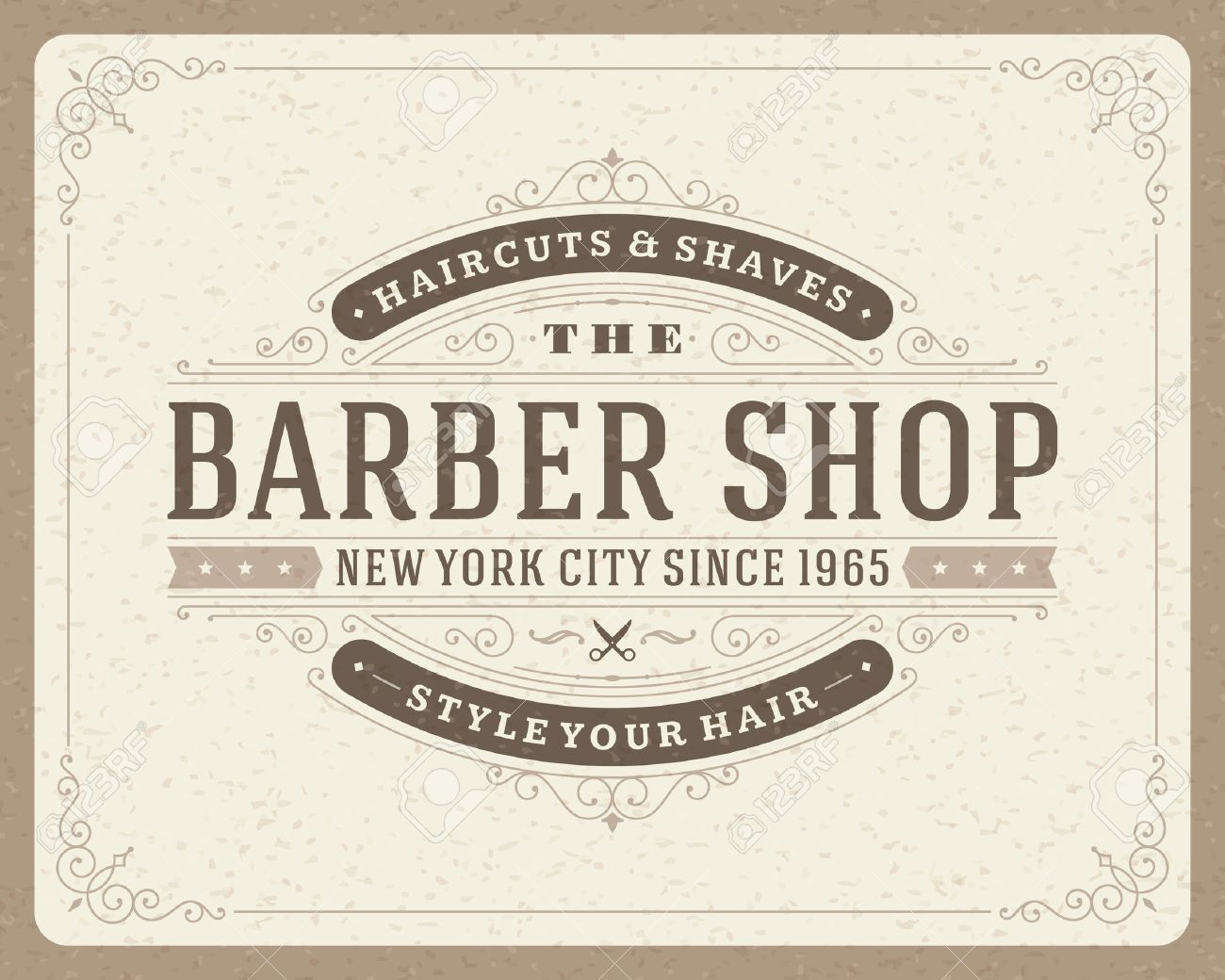Antique barber shop sign - Barber Shop Barber Shop Vintage Retro Typographic Design Template