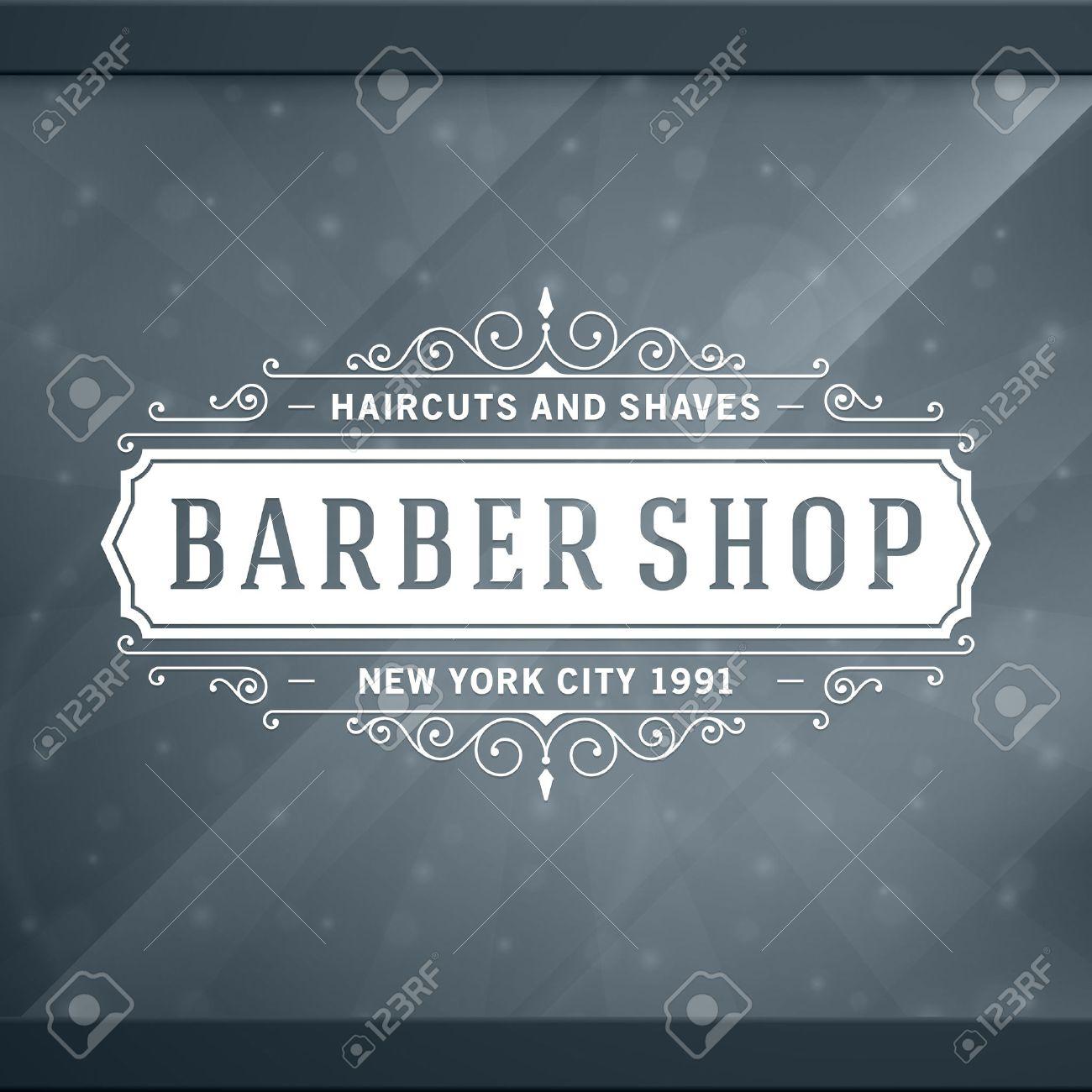 Barber shop vintage retro typographic design template Stock Vector - 26273501