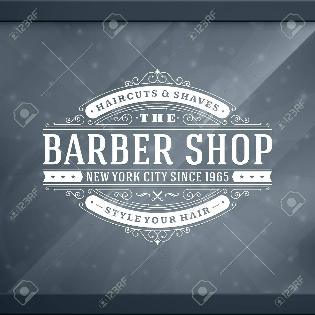 Barber shop vintage retro typographic design template Stock Vector - 26273515