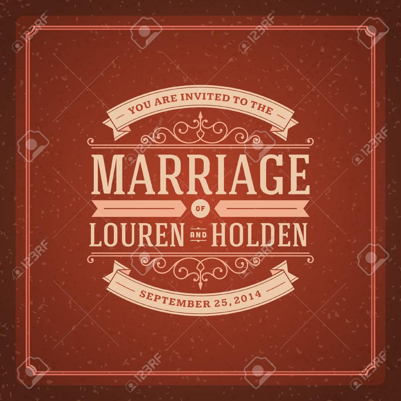 Wedding Invitation Card Template Vintage Background Retro Flourish ...