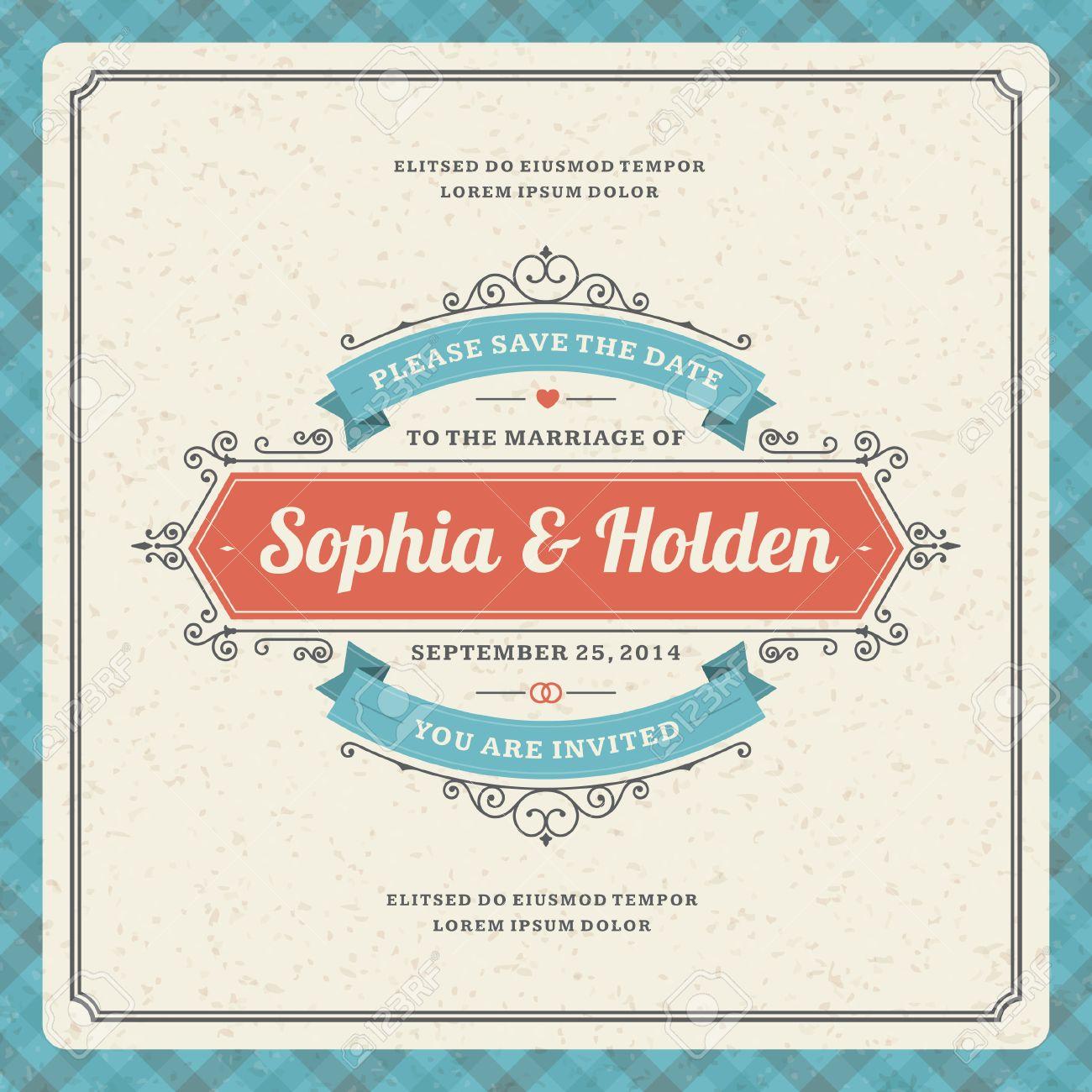 wedding invitation card template vintage background retro flourish
