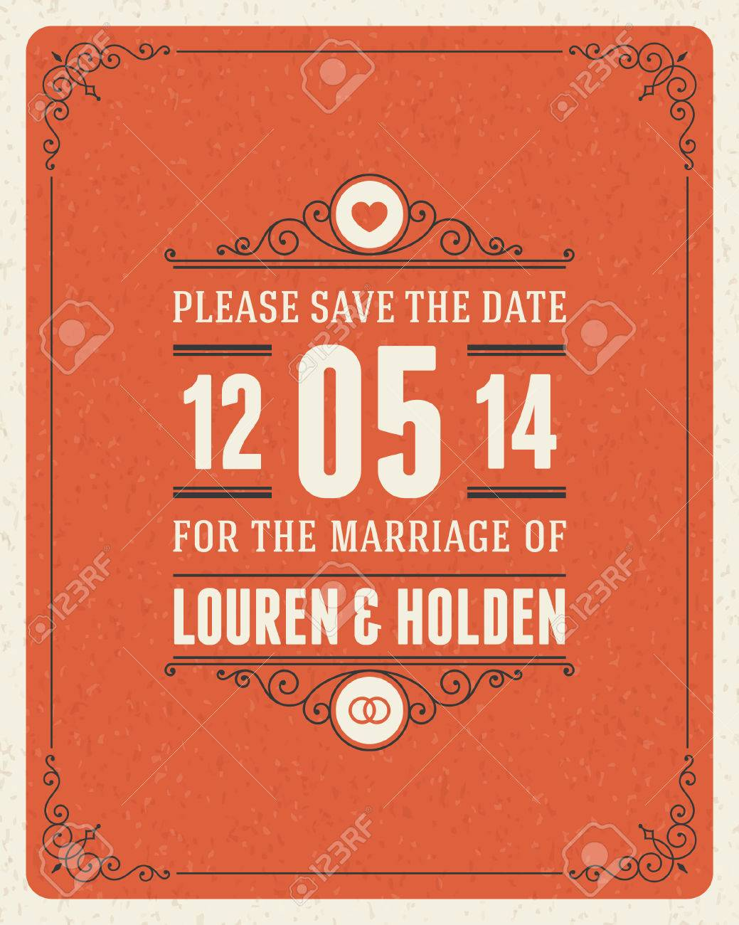 Wedding Invitation Card Template Vintage Background Retro Flourish ...