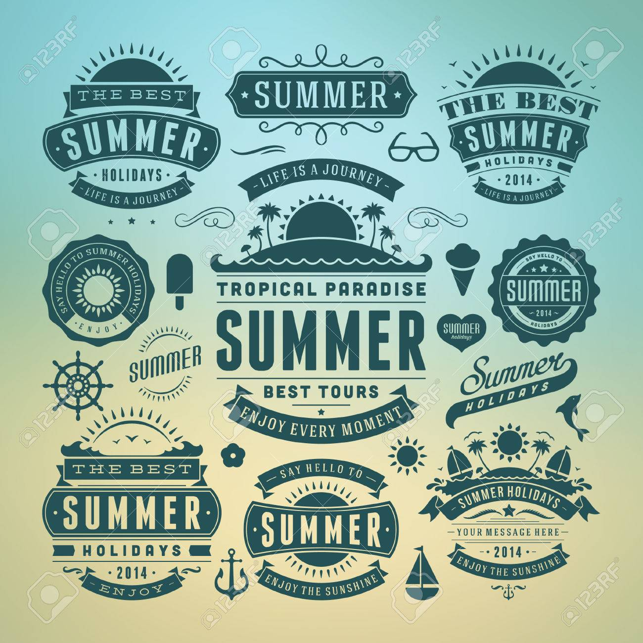 Summer Design Elements And Typography Design Retro And Vintage ...