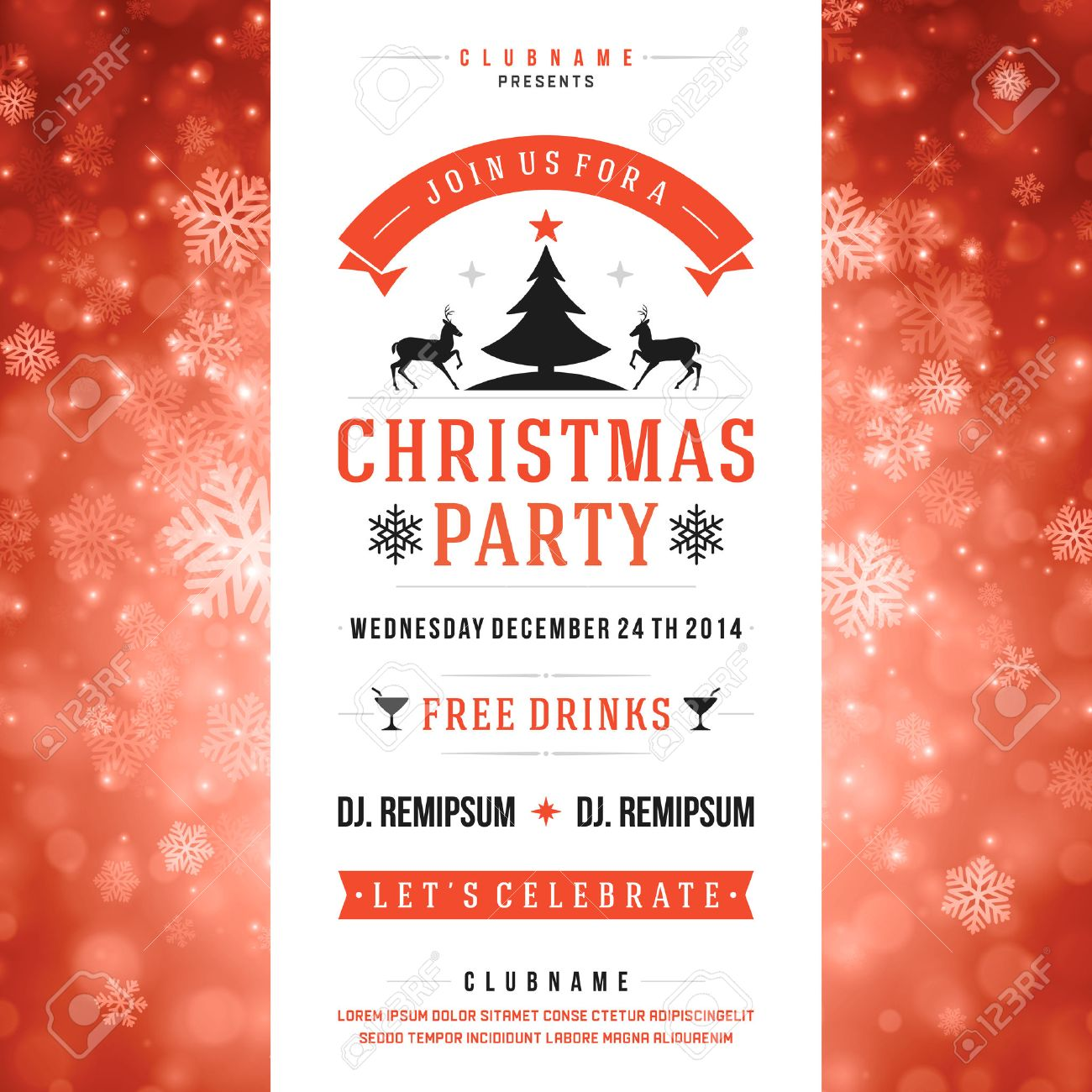 Christmas Party Invitation Retro Typography And Ornament ...