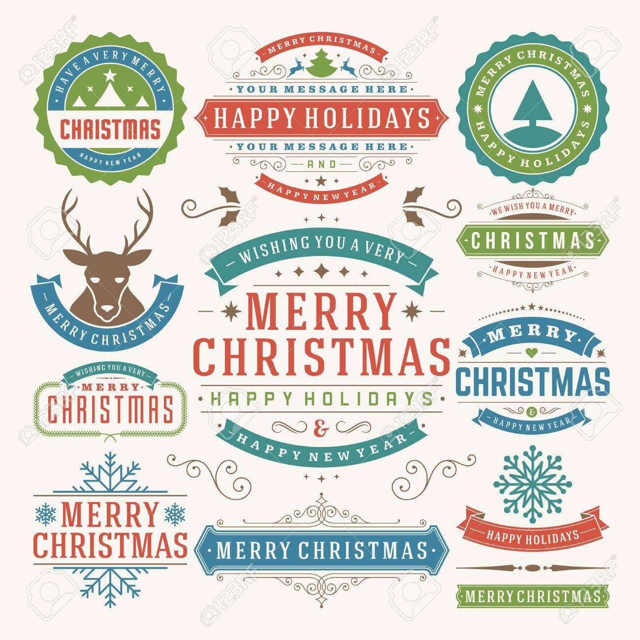 Etiketten Frohe Weihnachten.Weihnachtsdekoration Vektor Design Elemente Frohe Weihnachten Und Schöne Feiertage Wishes Typographic Elemente Vintage Etiketten Bilderrahmen