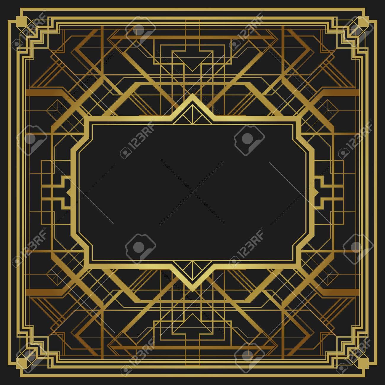 style art déco motif géométrique, vecteur or millésime fond 1920 de