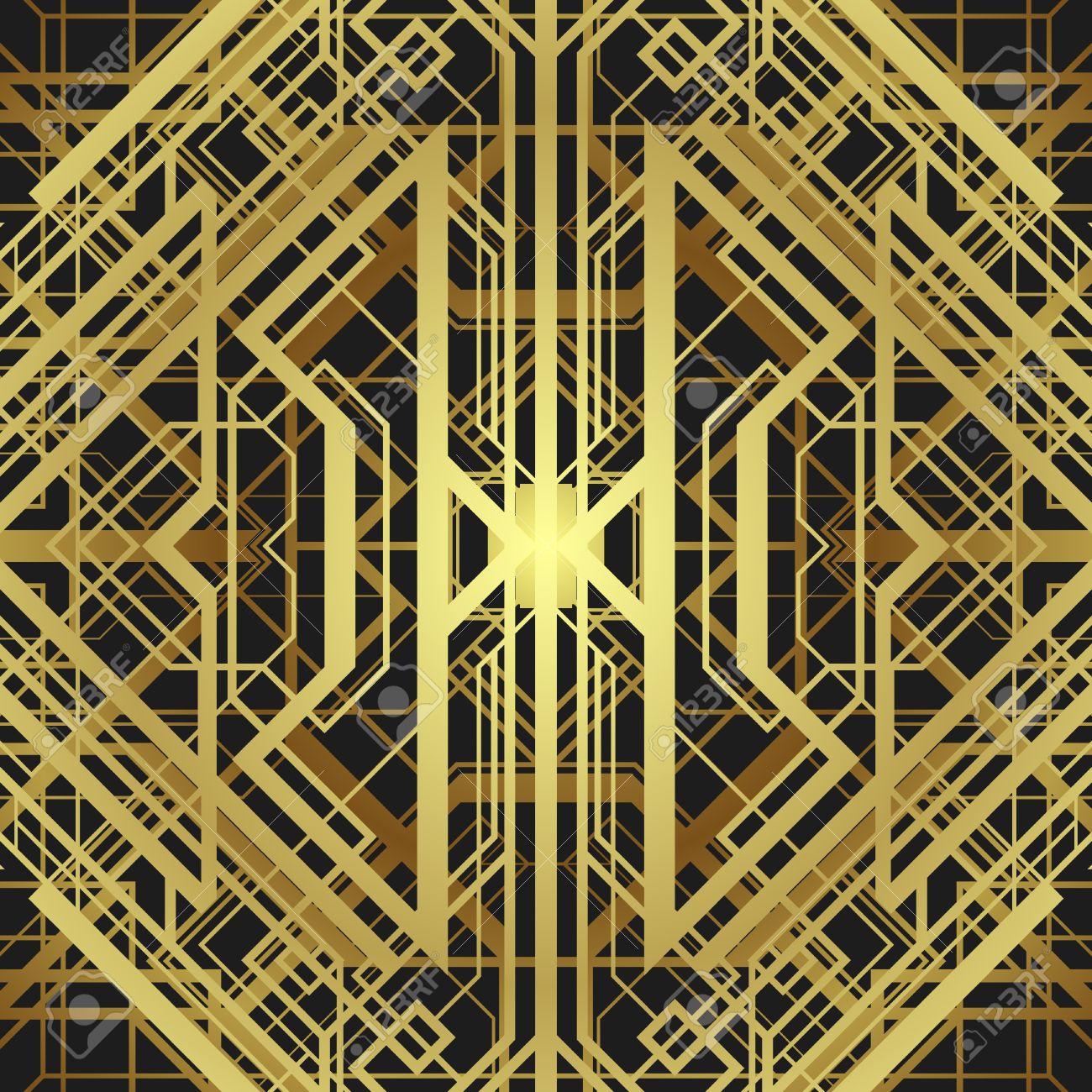 style art déco motif géométrique, vecteur or vintage background 1920