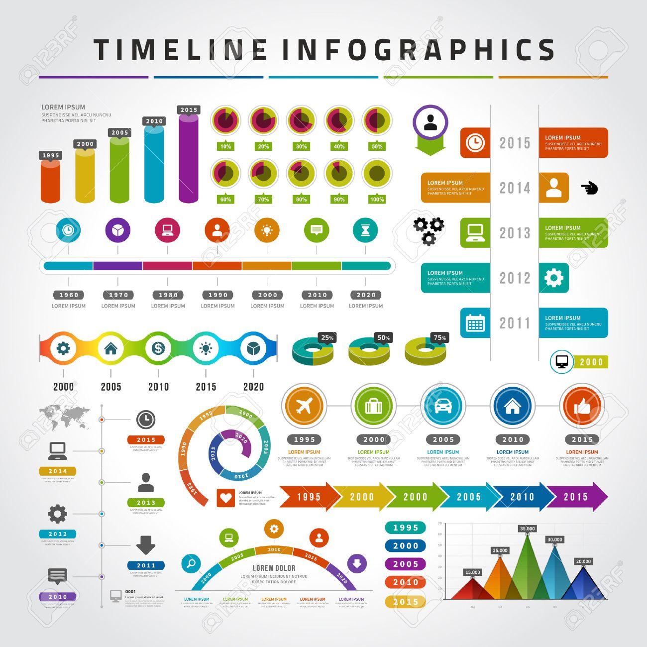 Timeline Infografik Design-Vorlagen Eingestellt. Charts, Diagramme ...