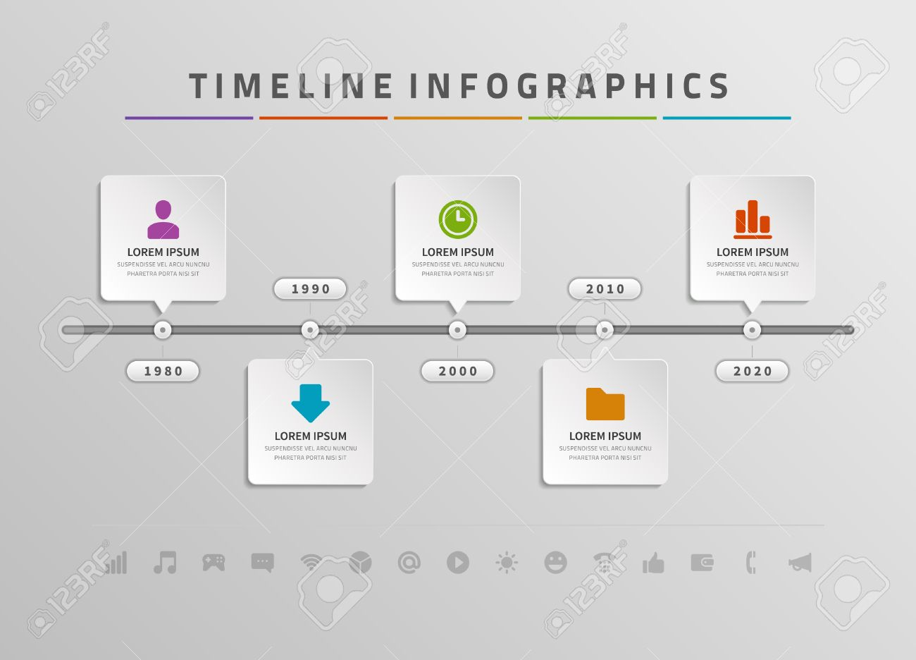 Timeline Infographic And Icons Vector Design Template For Web - Timeline design template