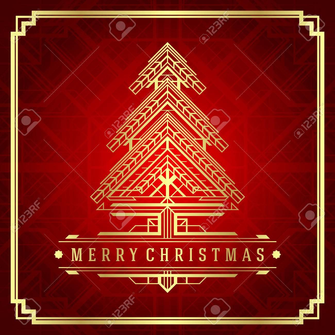 Noël arbre art déco. Vacances Joyeux Noël souhaite la carte de voeux et de  la décoration d\u0027ornement vintage.