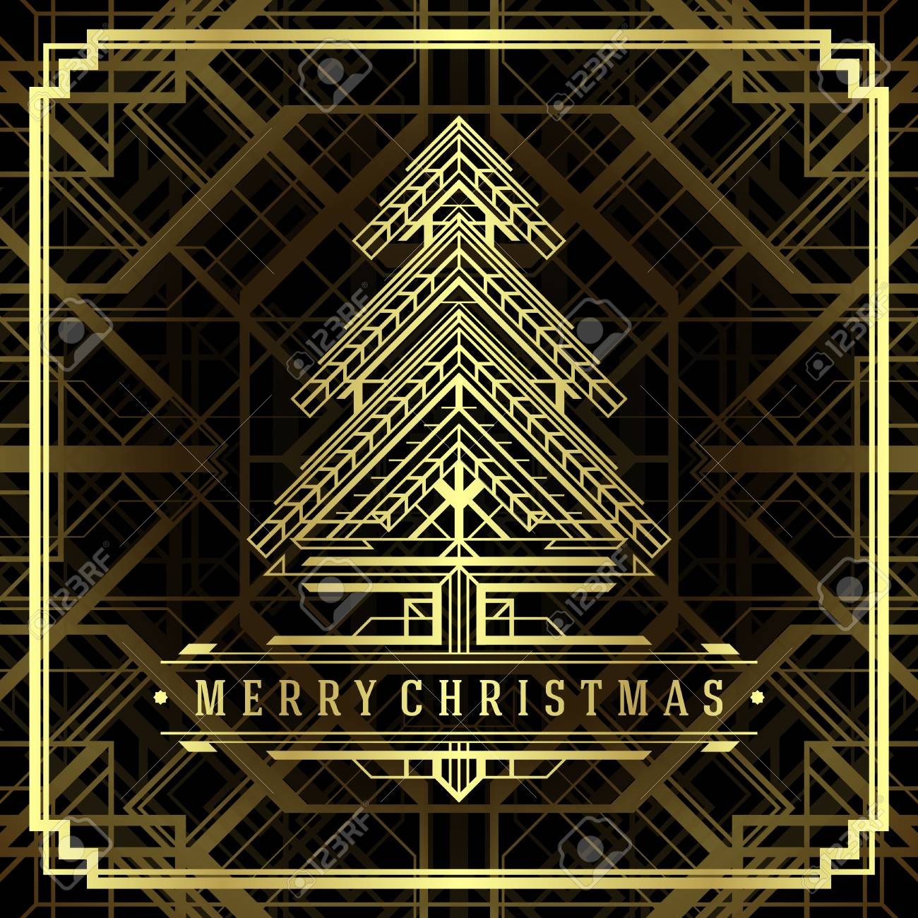 Christmas Tree Art Deco Style Merry Christmas Holidays Wish