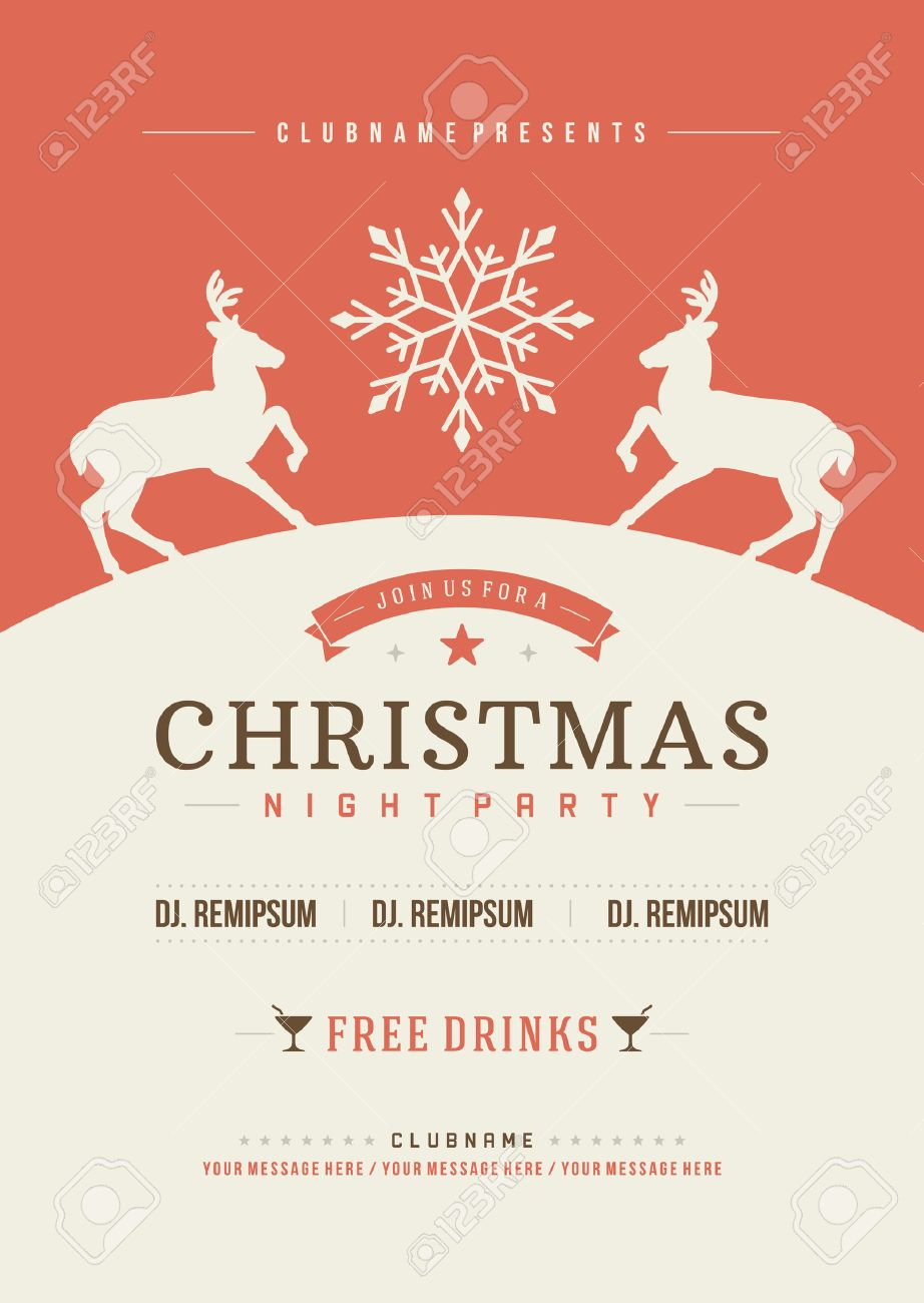 Free christmas poster design templates - Holiday Flyer Template Christmas Party Invitation Retro Typography And Ornament Decoration Christmas Holidays Flyer