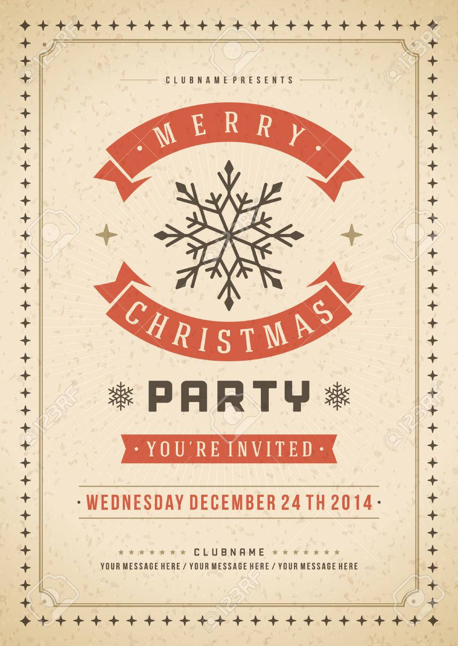 christmas party invitation retro typography and or nt christmas party invitation retro typography and or nt decoration christmas holidays flyer or poster design