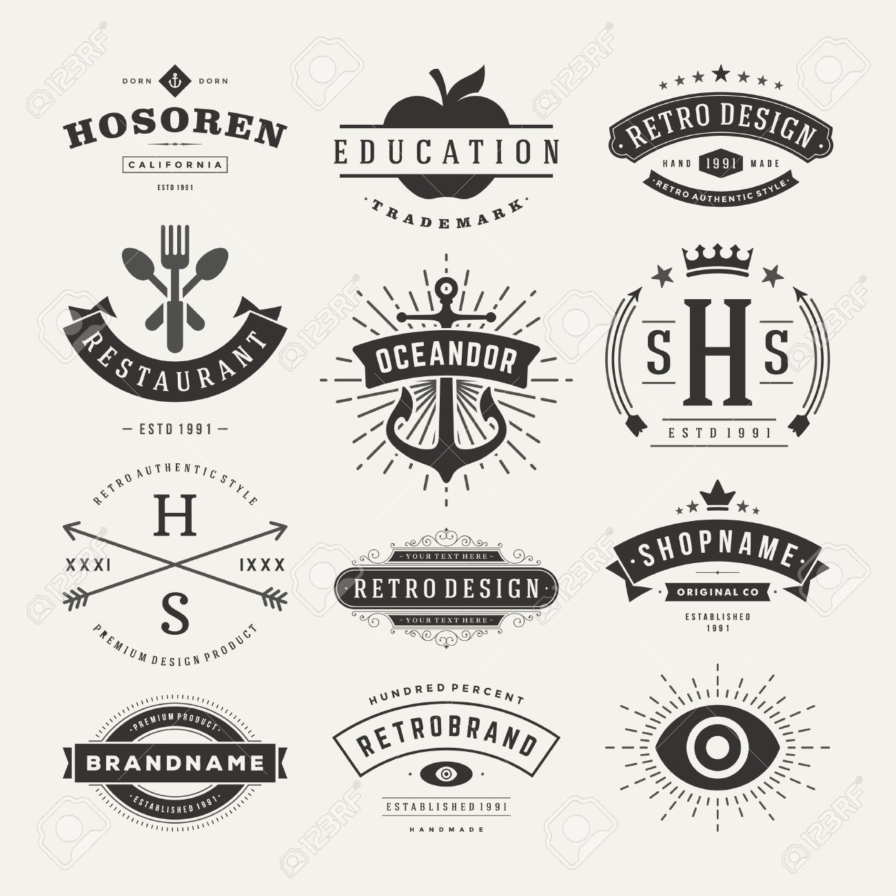 Retro Vintage Insignias or icons set. Vector design elements, business signs, icons, identity, labels, badges and objects. Stock Vector - 33257176