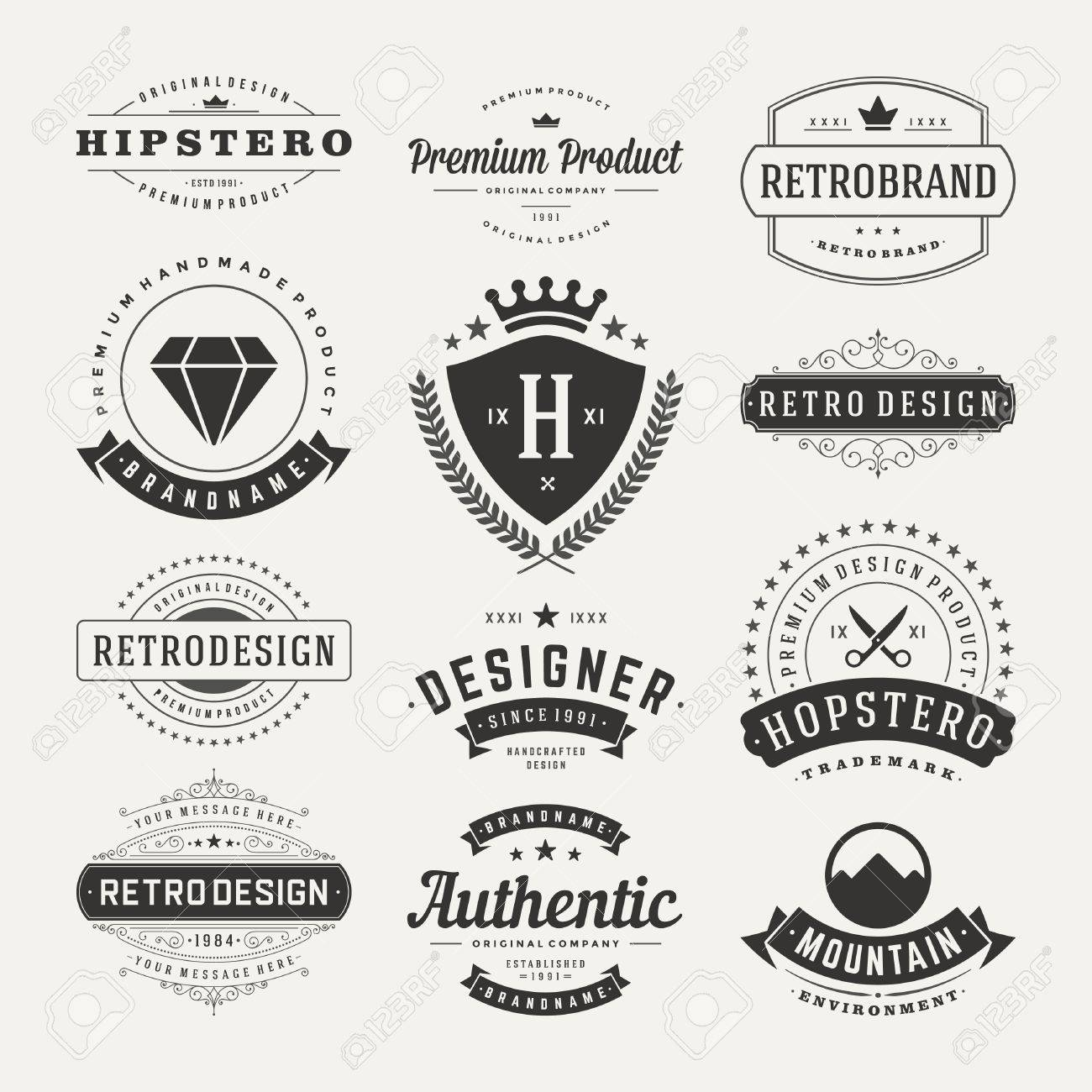 Retro Vintage Insignias or icons set. Vector design elements, business signs, icons, identity, labels, badges and objects. Stock Vector - 33256695