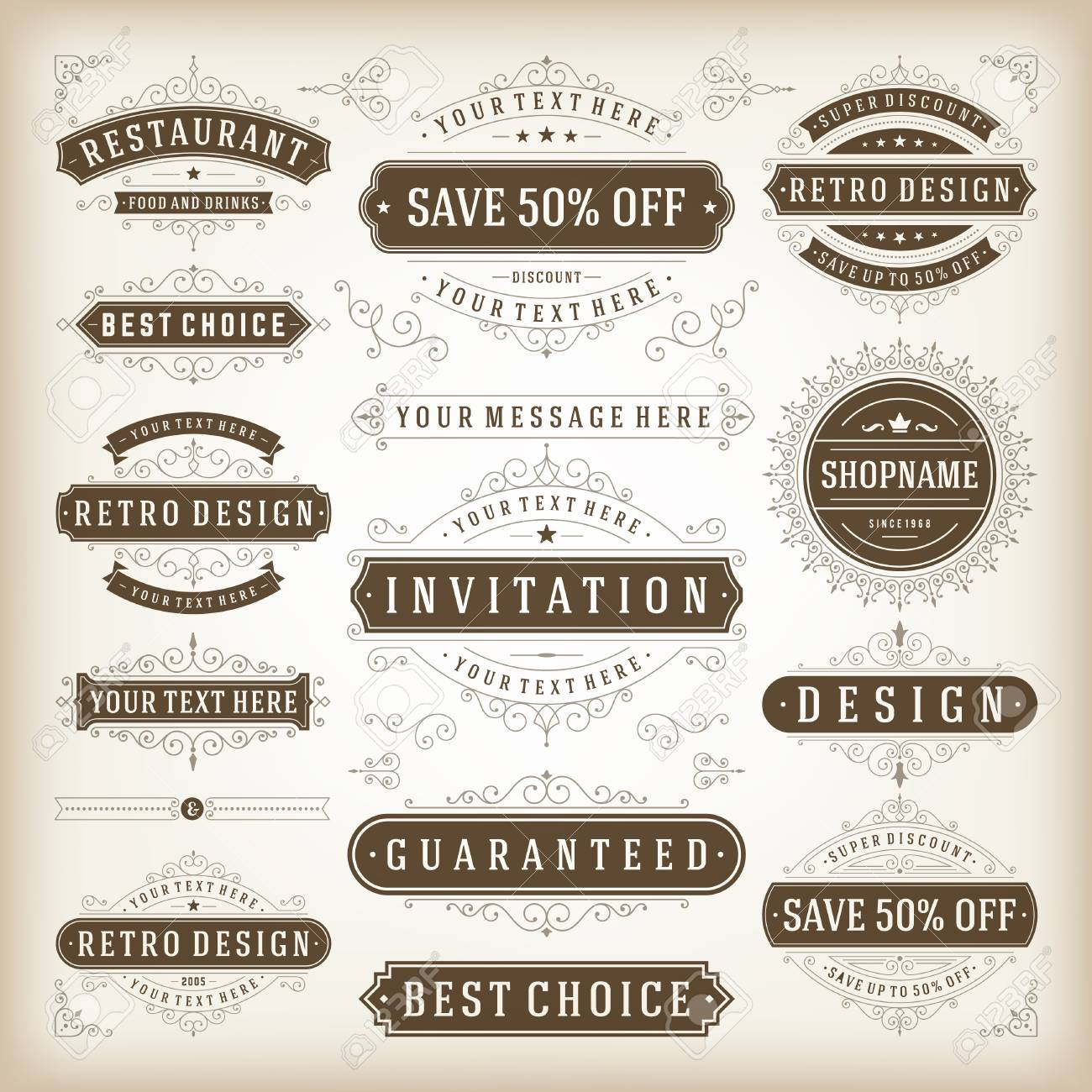 Vector Vintage Design Elements. Premium-Qualität Etiketten ...