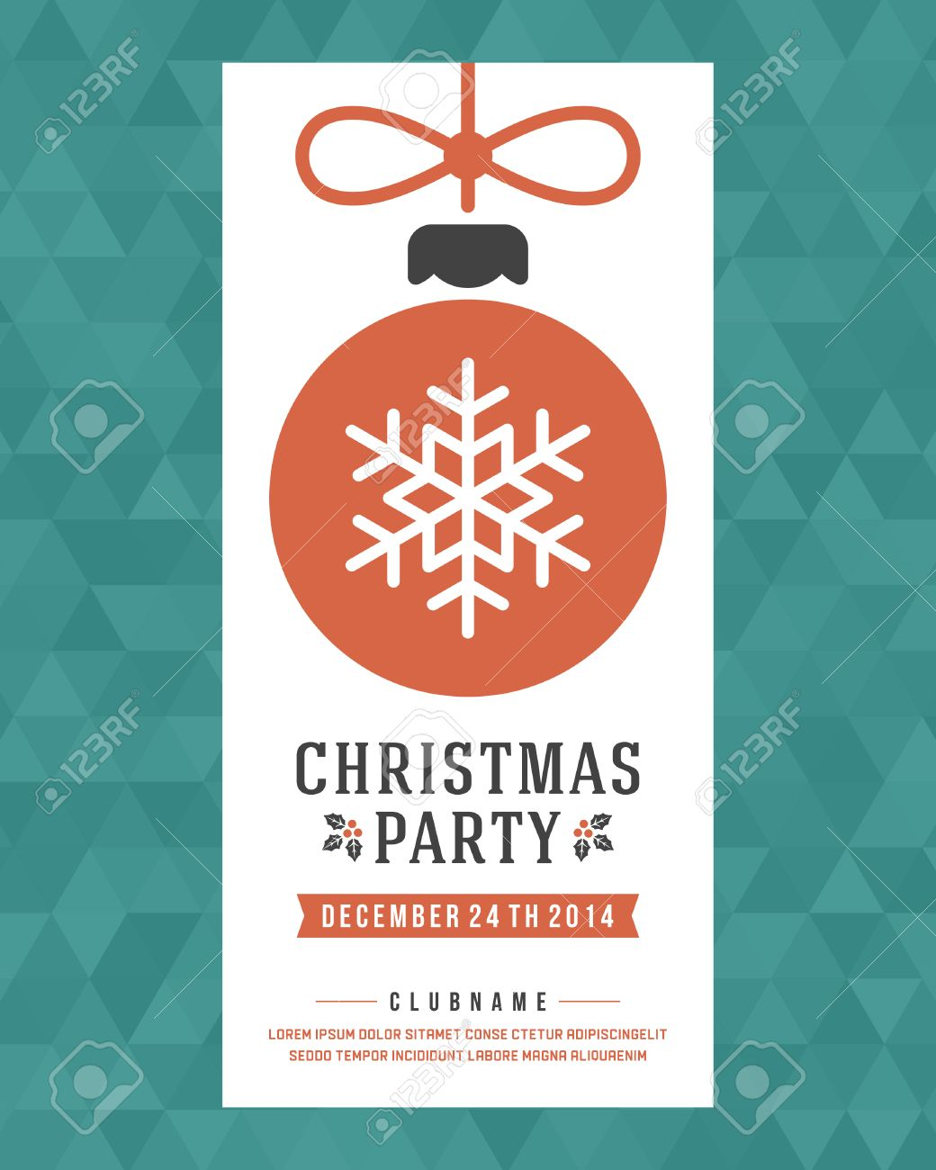 christmas party invitation retro typography and ornament decoration