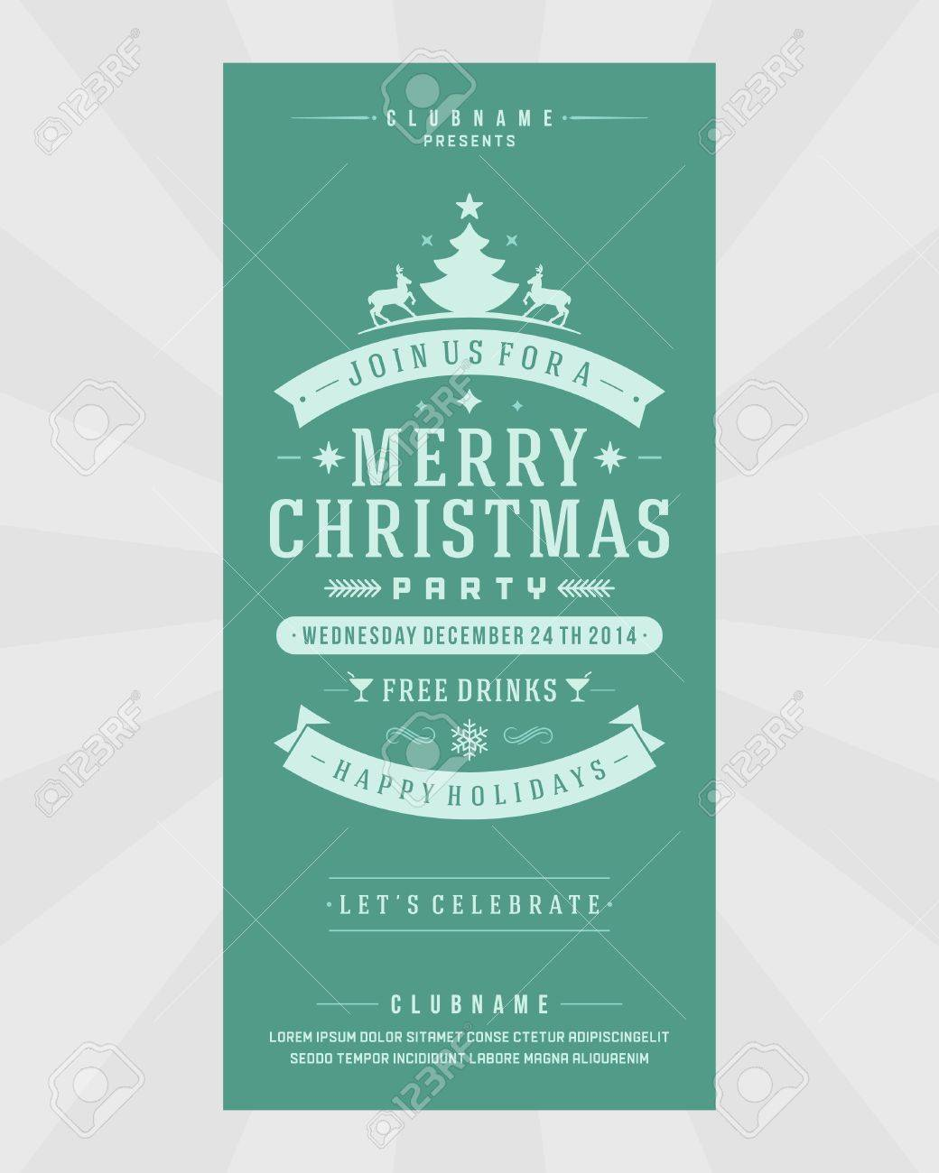 christmas flyer template cliparts stock vector and royalty christmas flyer template christmas party invitation retro typography and or nt decoration christmas holidays flyer