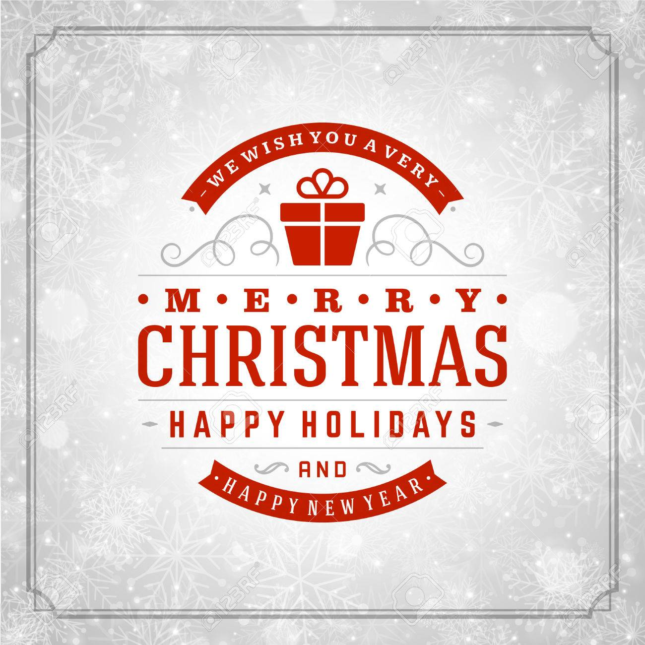 Christmas retro typography and light with snowflakes. Merry Christmas holidays wish greeting card design and vintage ornament decoration. Happy new year message. Vector background Eps 10. - 34399963