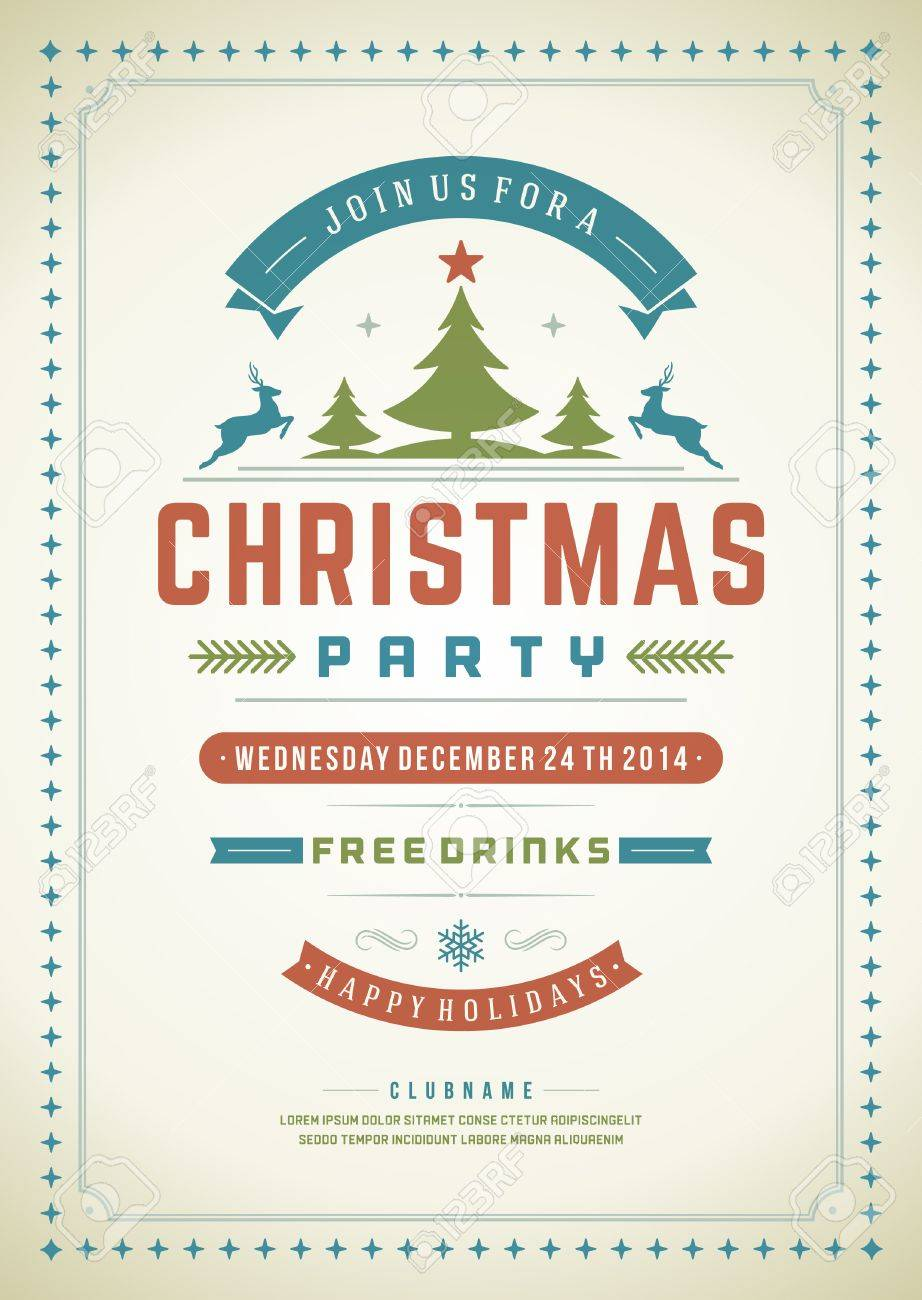 Vintage christmas party invitations - Christmas Party Invitation Retro Typography And Ornament Decoration Christmas Holidays Flyer Or Poster Design