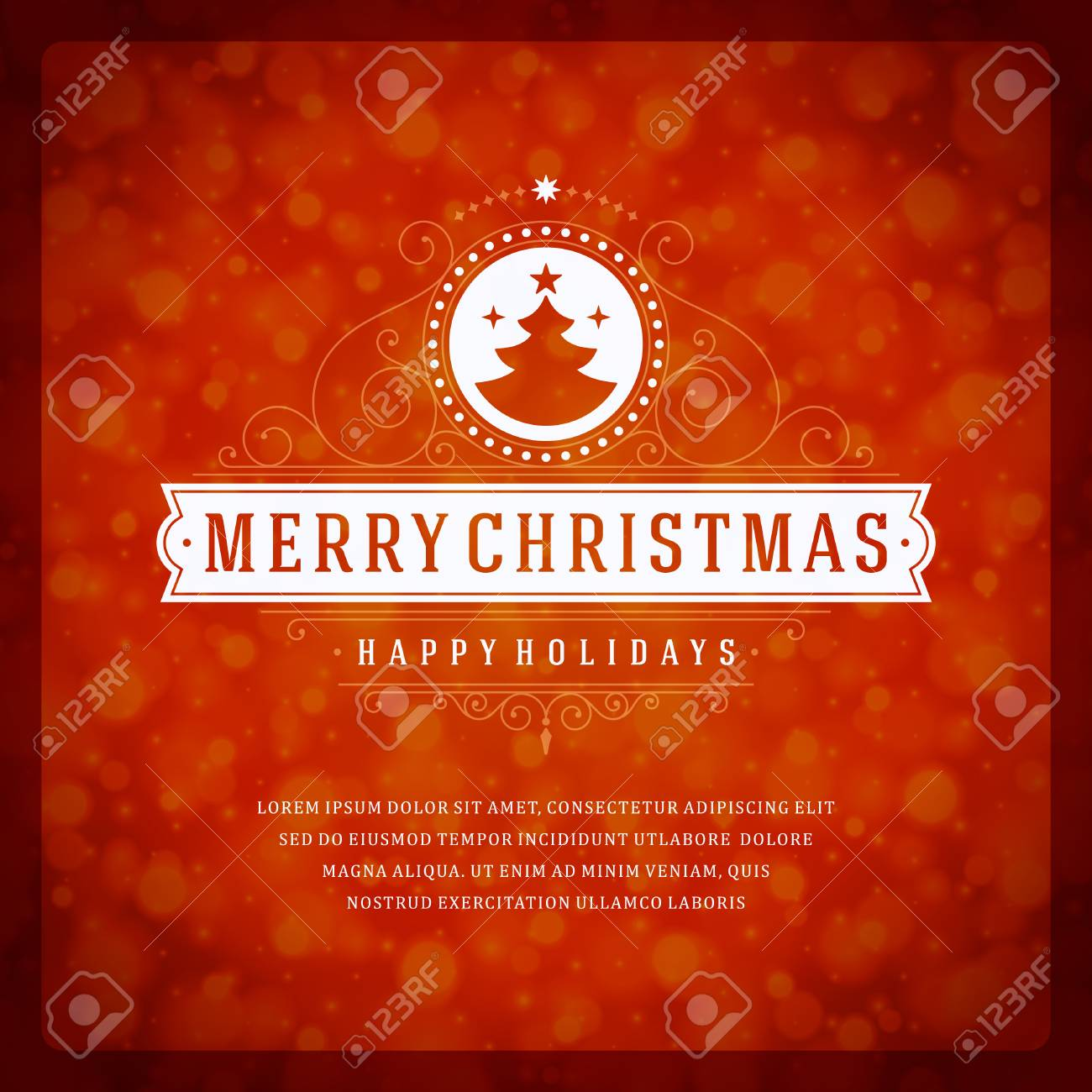 Christmas Greeting Card Light And Snowflakes Vector Background