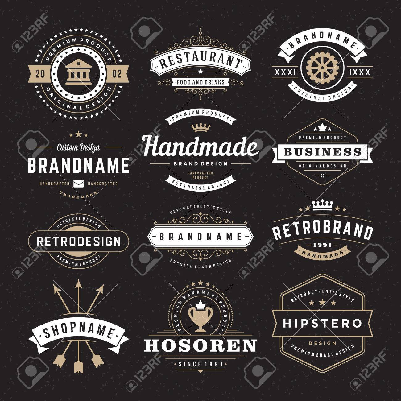 Retro Vintage Insignias or Logotypes set. Vector design elements, business signs, logos, identity, labels, badges and objects. - 35123146