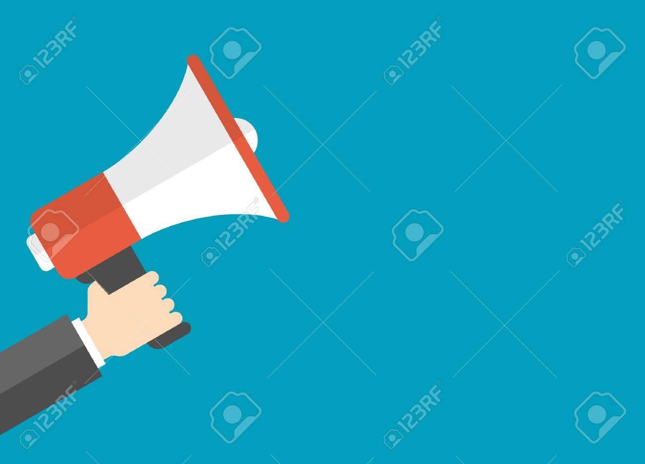 Flat design vector business illustration concept Digital marketing business man holding megaphone for website and promotion banners. - 35282145