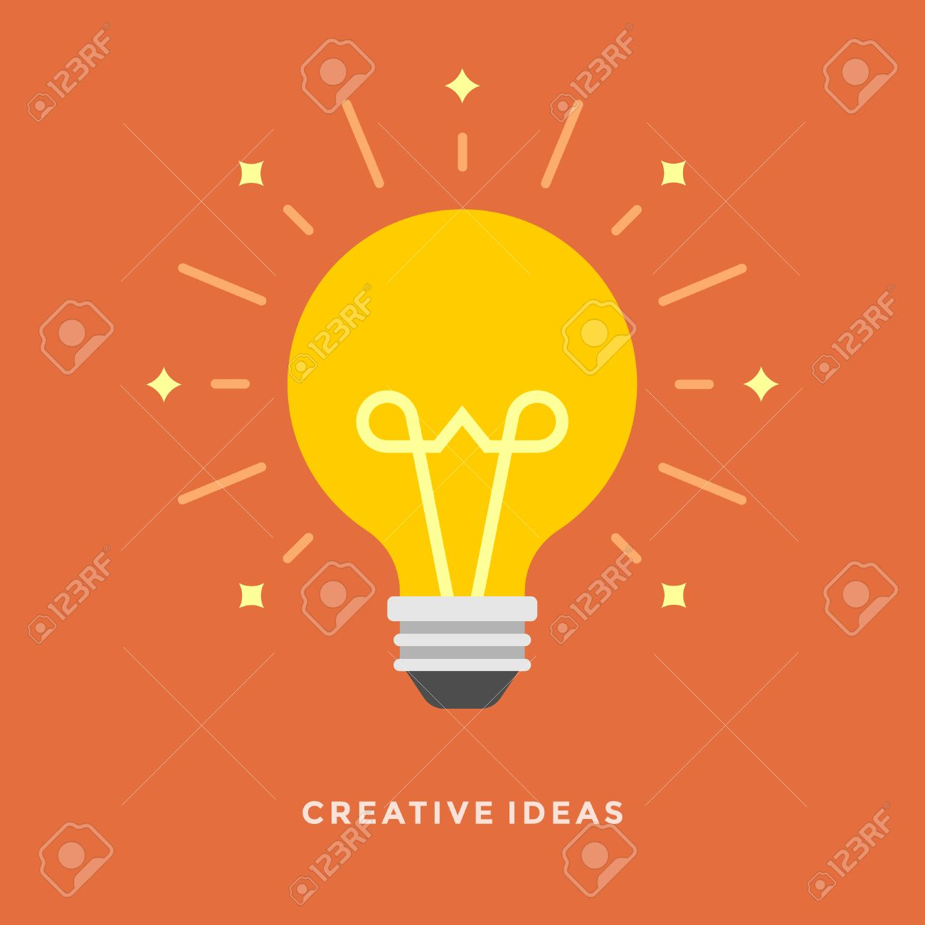 Flat design vector business illustration concept Creative idea with light lamp bulb for website and promotion banners. - 35282148