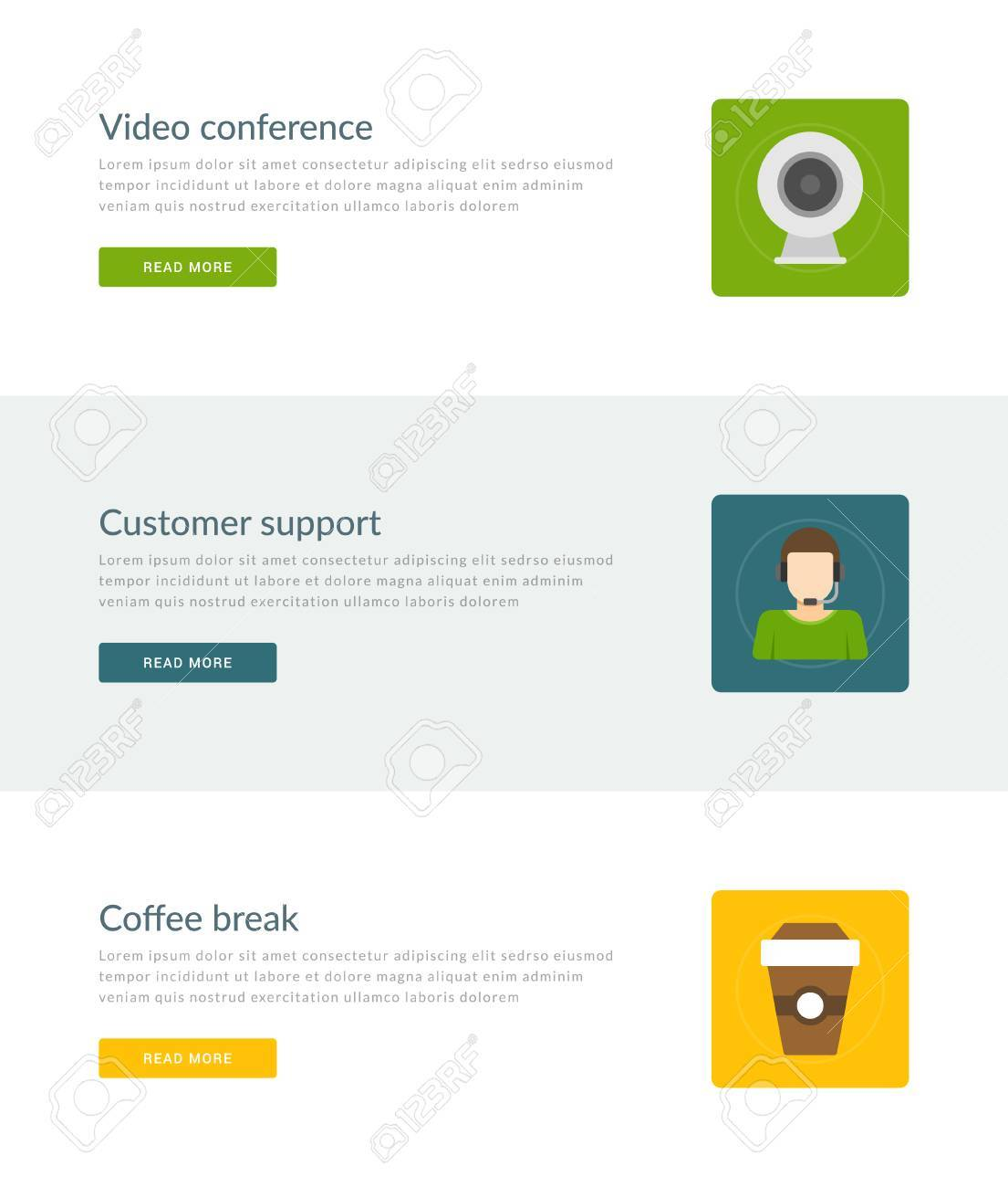 Website Headers Or Promotion Banners Templates And Flat Icons ...