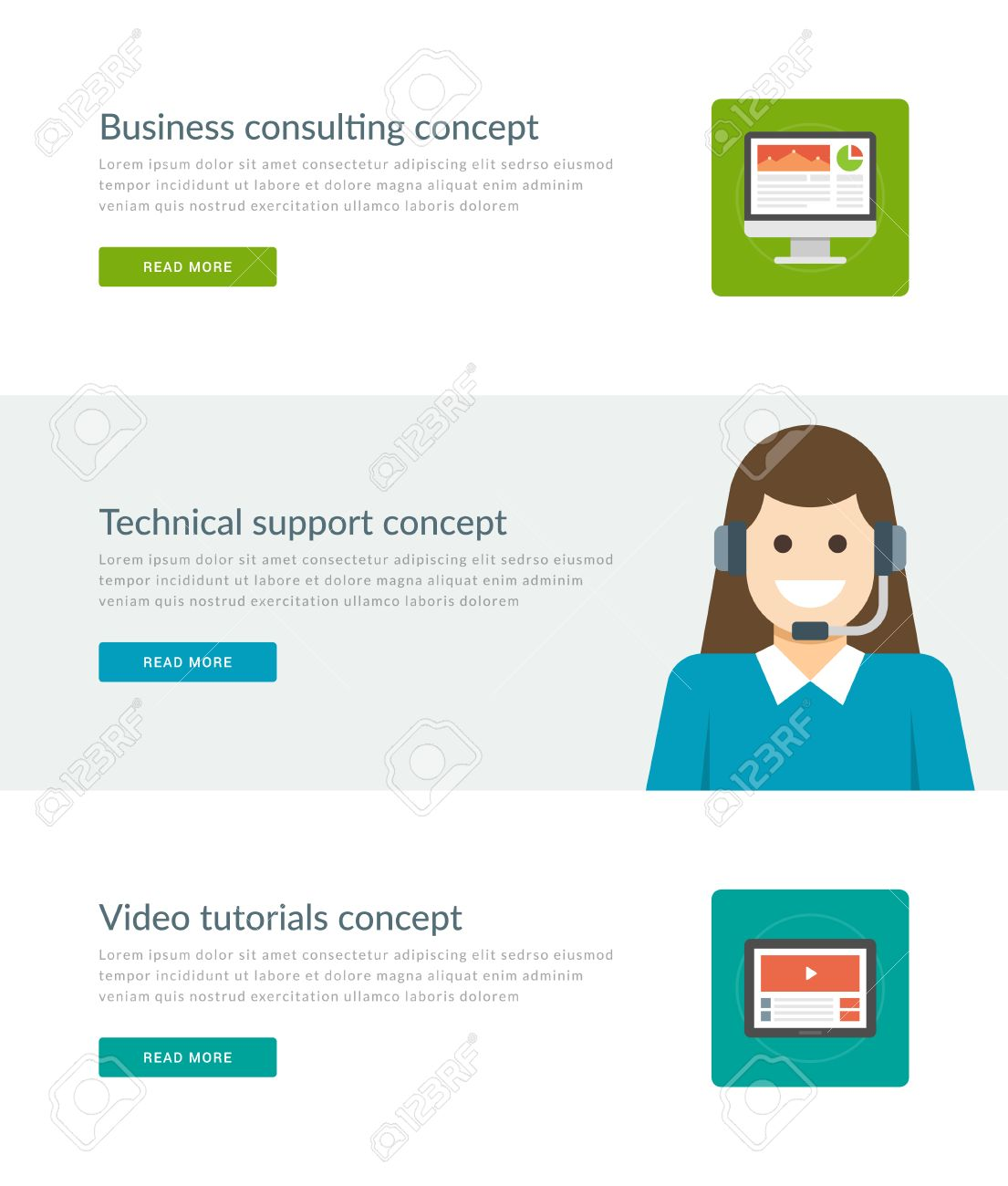 Website Headers Or Promotion Banners Templates And Flat Icons