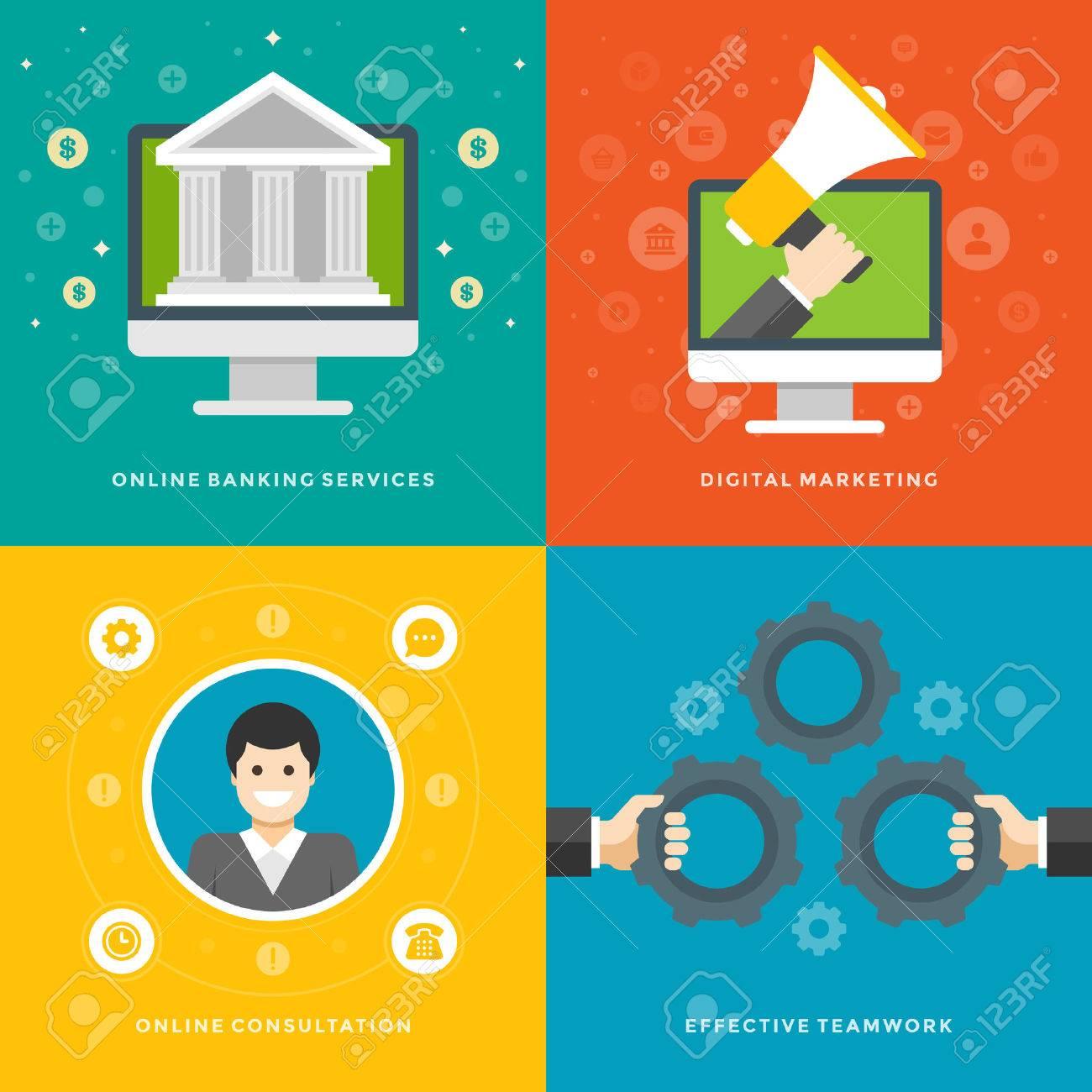 Promoción De Sitios Web Banners Plantillas Y Plana Iconos De Diseño ...