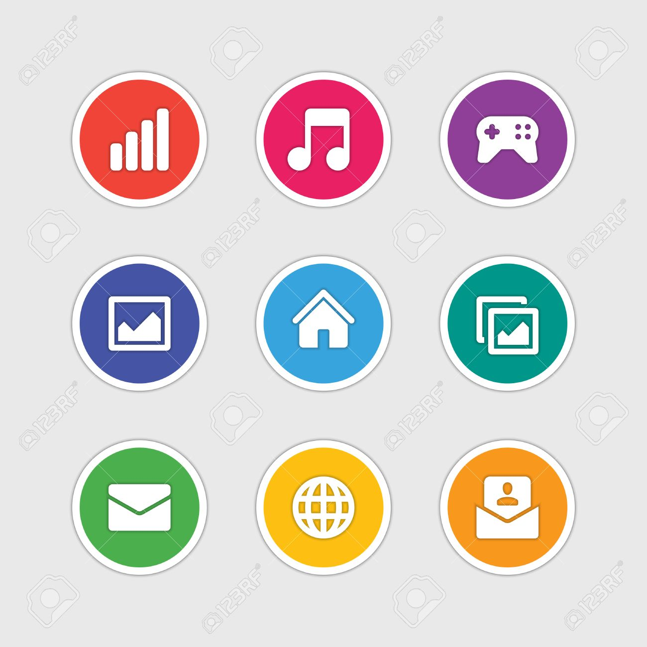 Material design style icons vector sign and symbols Anten signal,