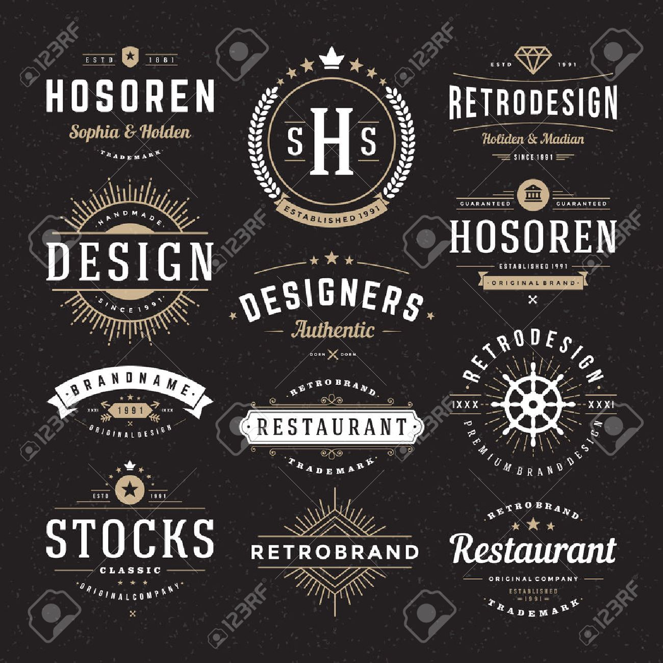 Retro Vintage Insignias or Logotypes set. Vector design elements, business signs, logos, identity, labels, badges and objects. Stock Vector - 38327712