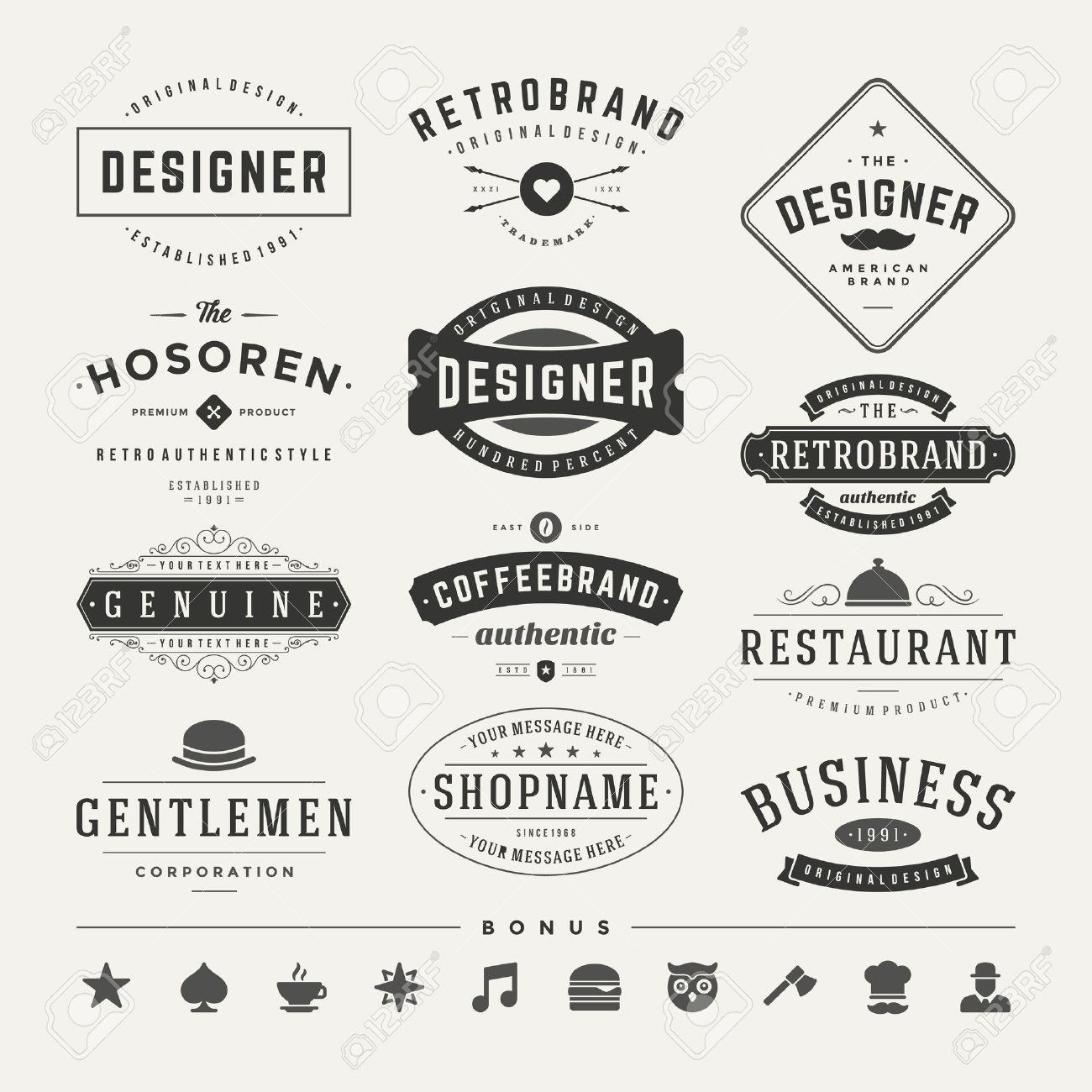 Retro Vintage Insignias or Logotypes set. Vector design elements, business signs, logos, identity, labels, badges and objects. - 37356531