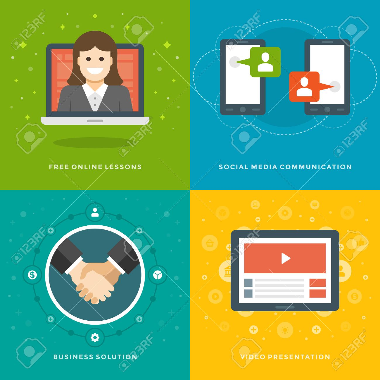 website promotion banners templates and flat icons design on line