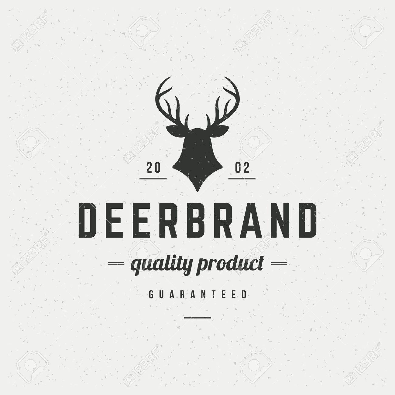 Design t shirt label - Deer Head Design Element In Vintage Style For Label Badge T Shirts And