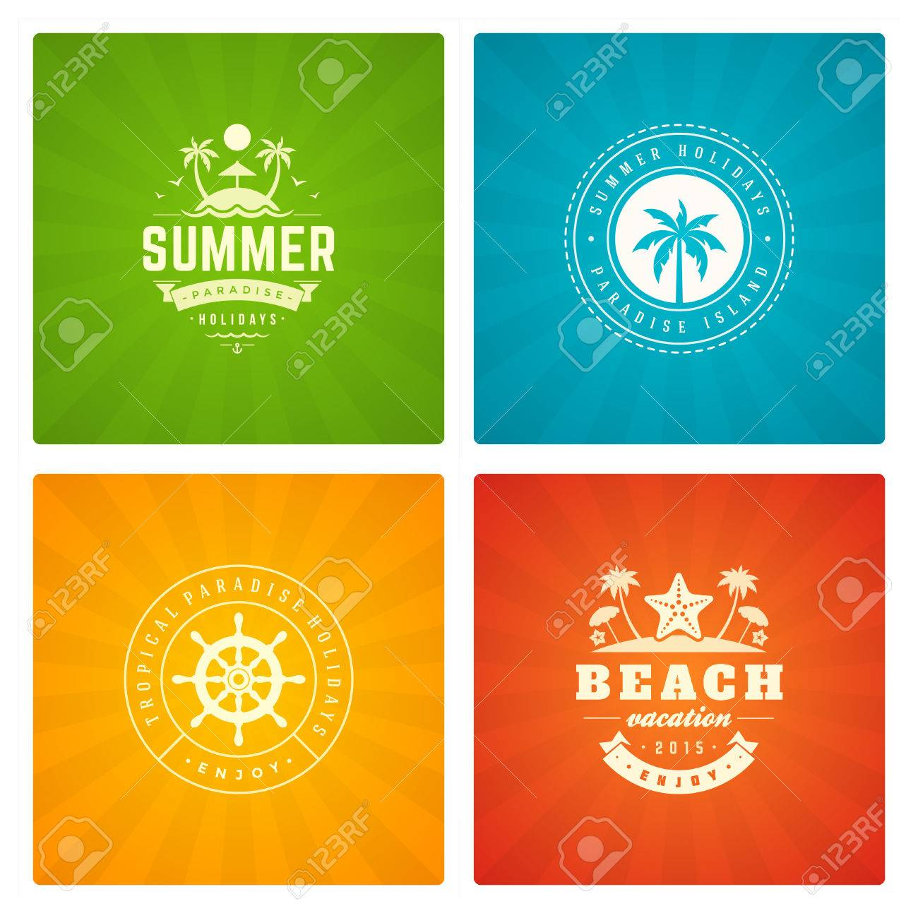 summer holidays labels design elements and typography set retro summer holidays labels design elements and typography set retro and vintage templates badges