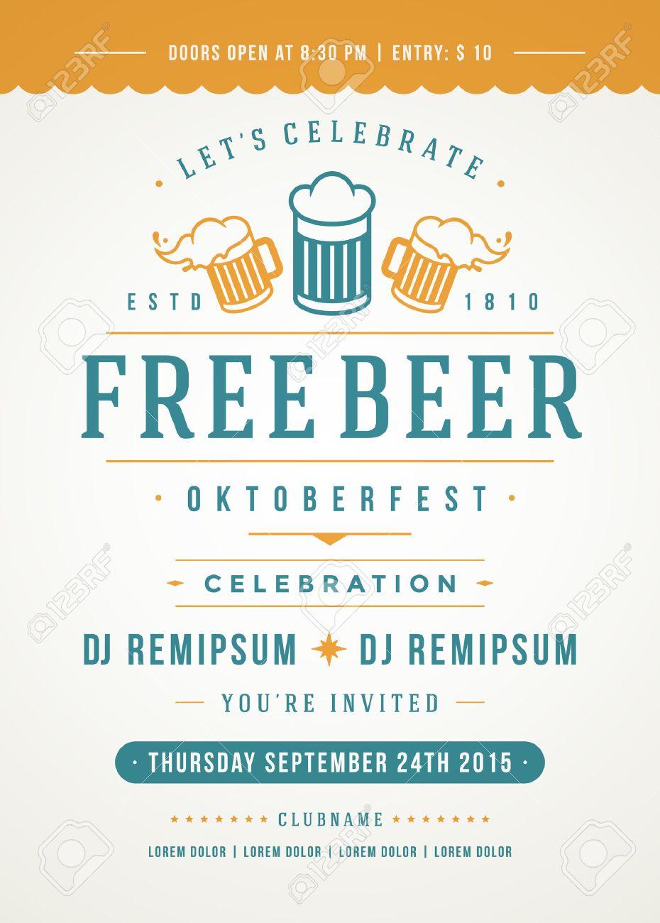 オクトーバーフェスト ビール祭り祭典レトロなタイポグラフィ ポスター