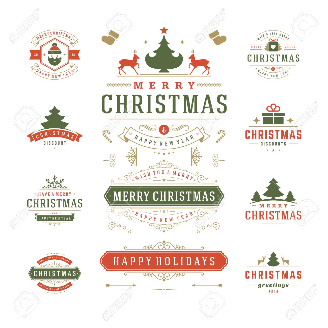 Merry Christmas Labels.Christmas Labels And Badges Vector Design Decorations Elements