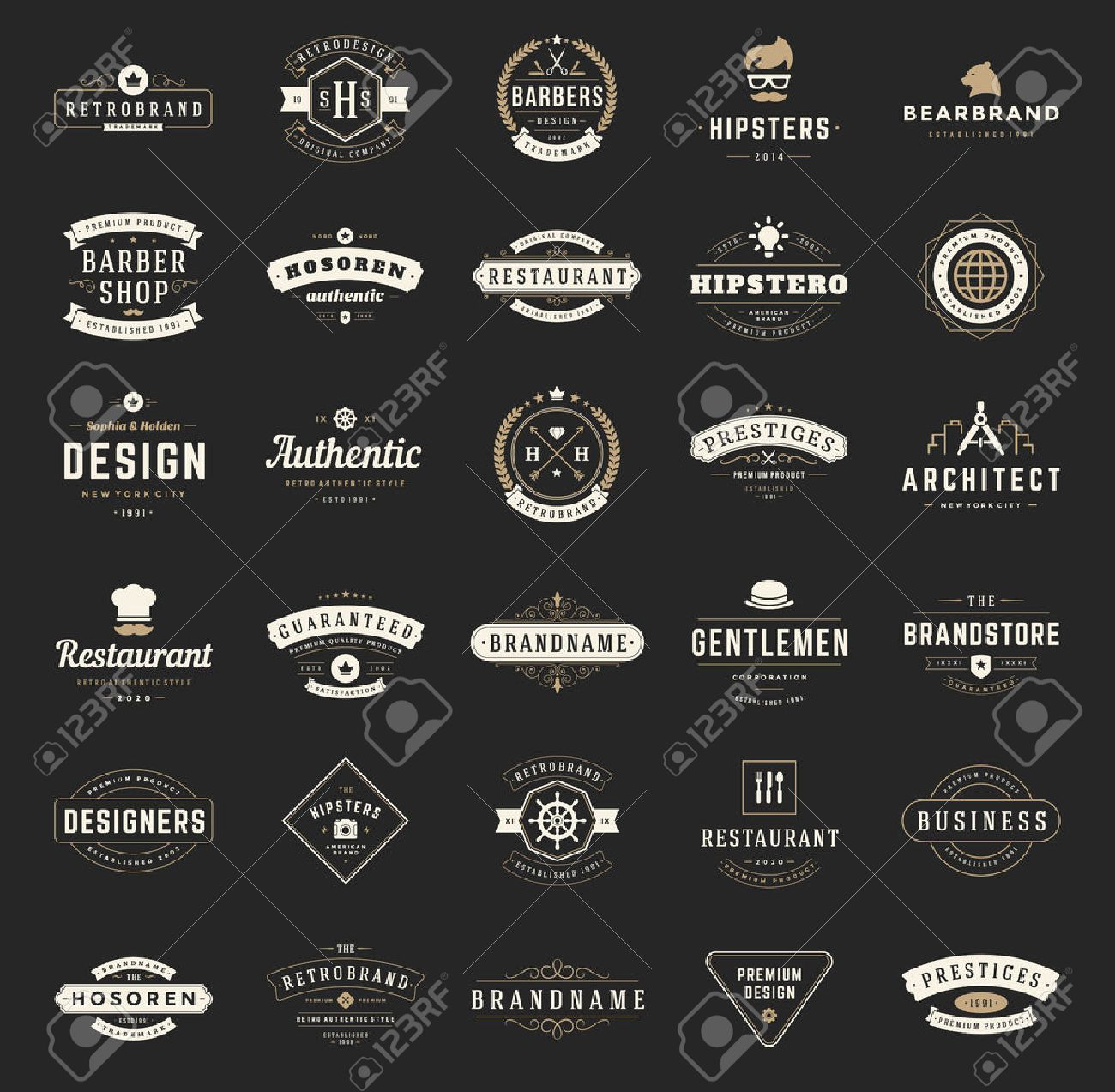 Retro Vintage Logotypes or insignias set. Vector design elements, business signs, logos, identity, labels, badges, shirts, ribbons and other branding objects. - 45877254