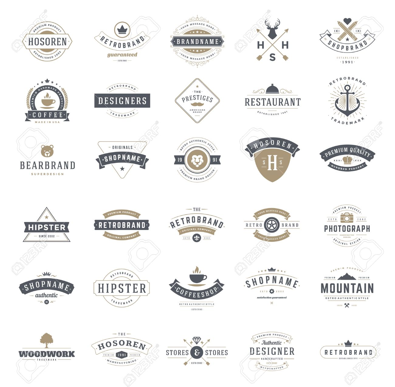 Retro Vintage Logotypes or insignias set. Vector design elements, business signs, logos, identity, labels, badges, ribbons, stickers and other branding objects. - 46168368