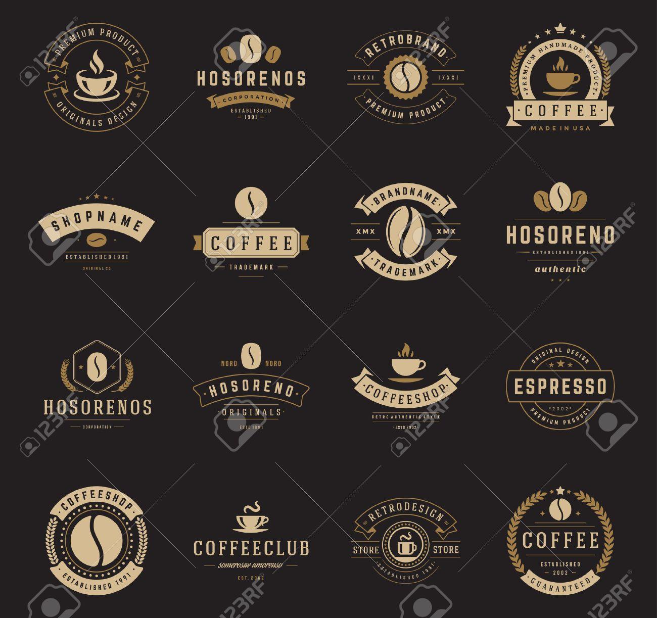 Preferenza Coffee Shop Loghi, Badge E Impostare Le Etichette Elementi Di  PV57